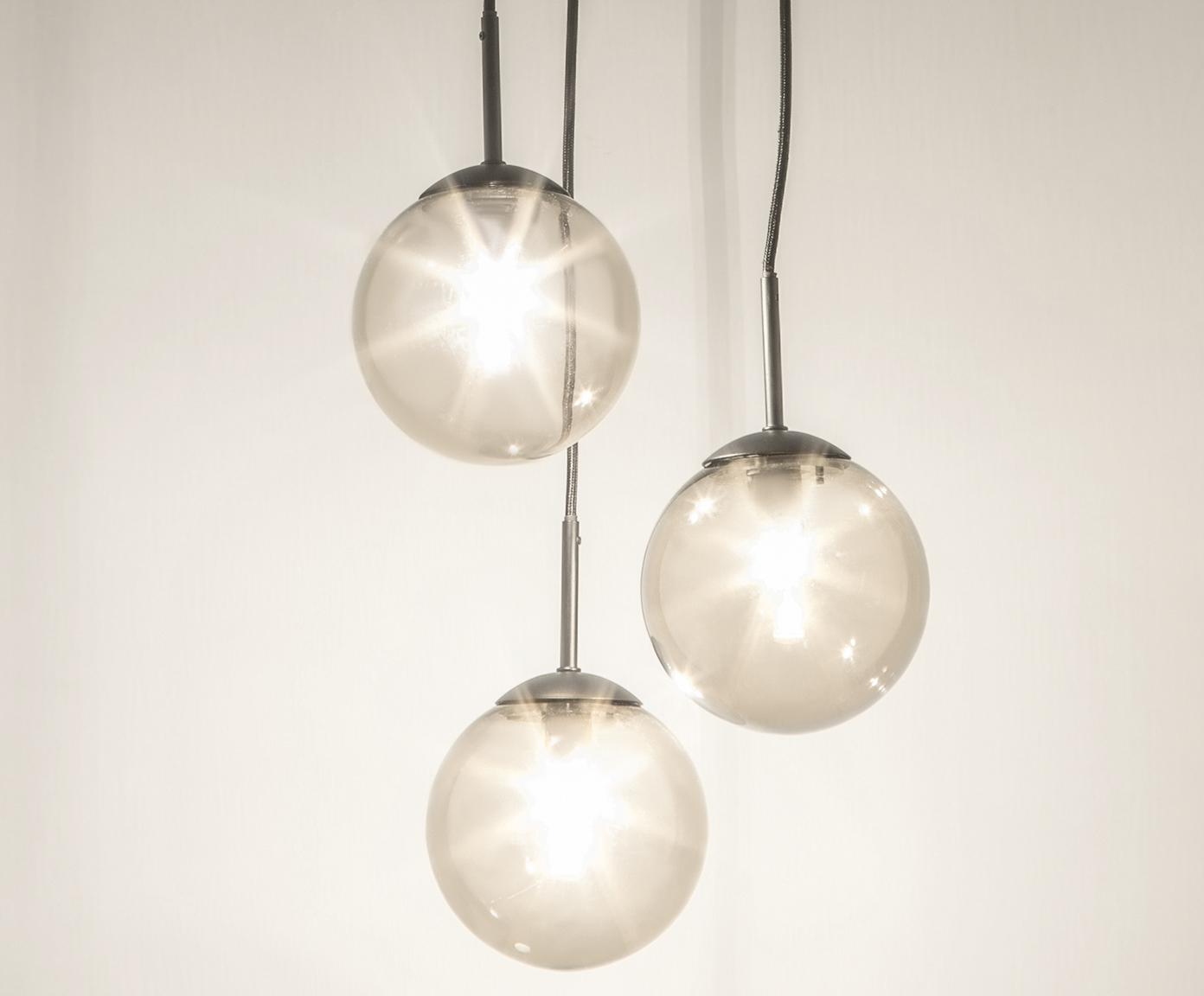 Lampa wisząca ze szkła Edie, Szary, czarny, Ø 30 cm