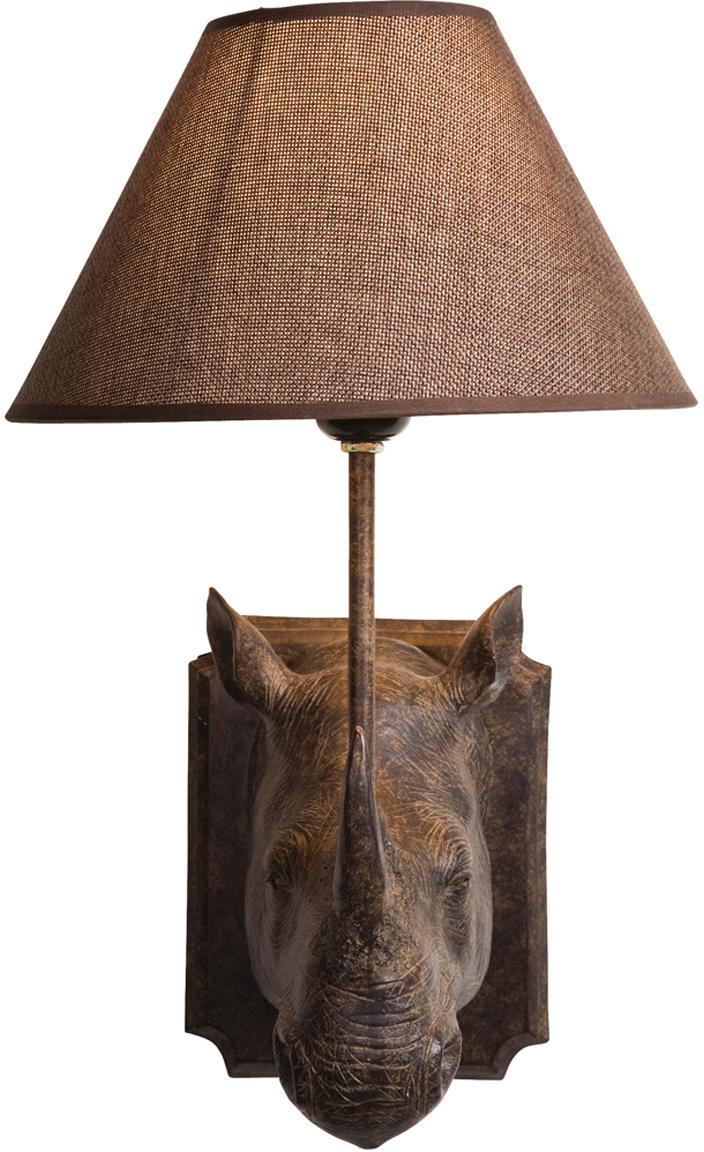 Design Wandleuchte Rhino mit Stecker, Gestell: Polyresin, Lampenschirm: Stahl, Leinen, Braun, 27 x 40 cm