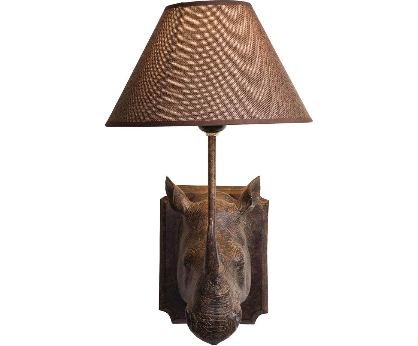 Applique con spina Rhino, Struttura: poliresina, Paralume: acciaio, lino, Marrone, Larg. 27 x Alt. 40 cm