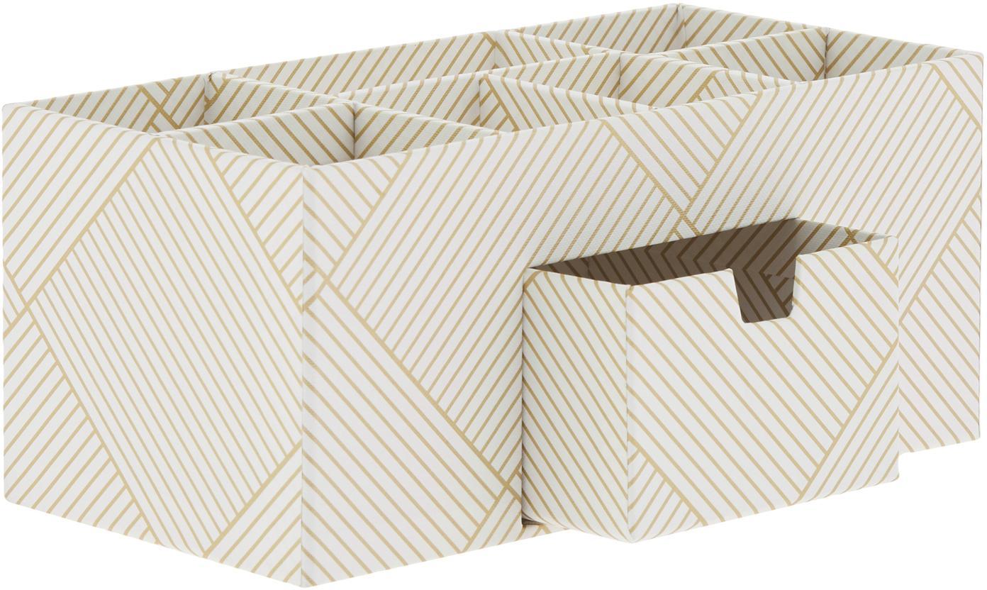 Büro-Organizer Vendela, Fester, laminierter Karton, Goldfarben, Weiß, 24 x 11 cm