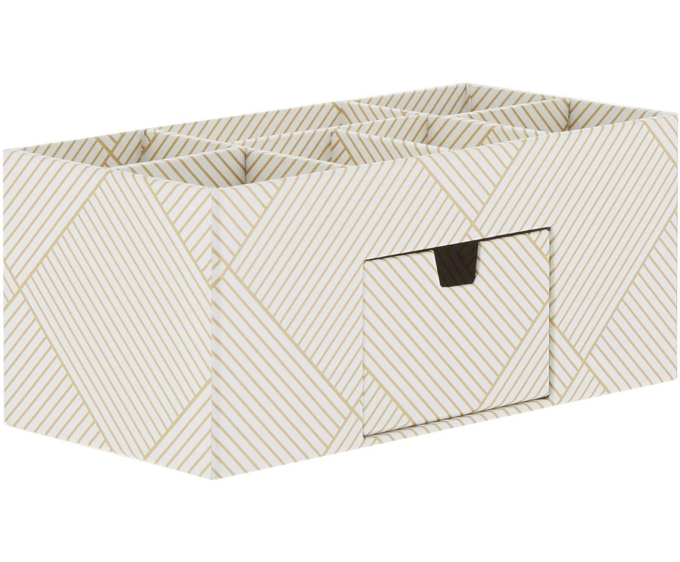 Organizer da ufficio Vendela, Cartone solido e laminato, Dorato, bianco, Larg. 24 x Alt. 11 cm