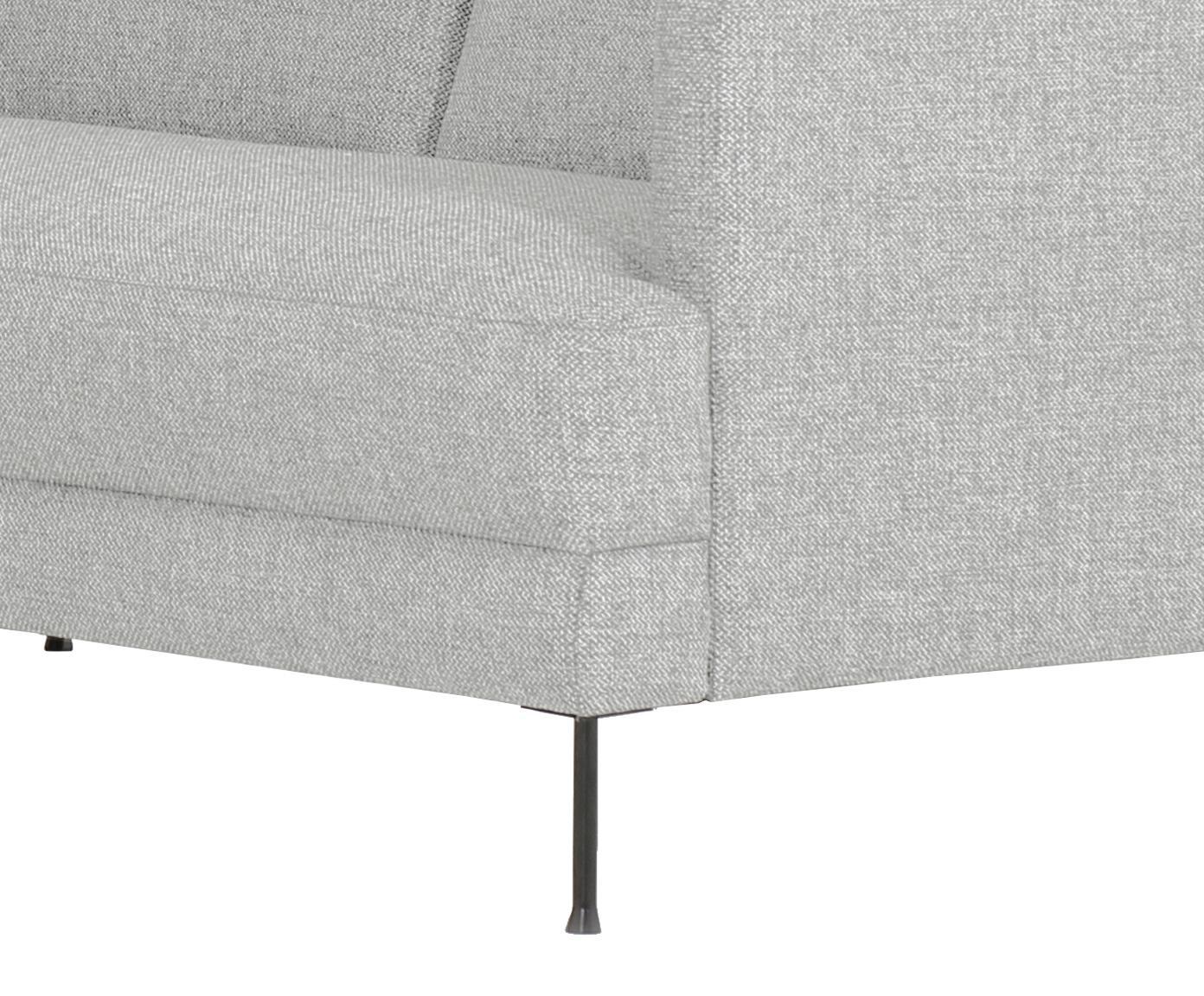 Sofa narożna Fluente, Tapicerka: poliester Tkanina o odpor, Stelaż: drewno naturalne, Nogi: metal lakierowany, Jasny szary, S 221 x G 200 cm