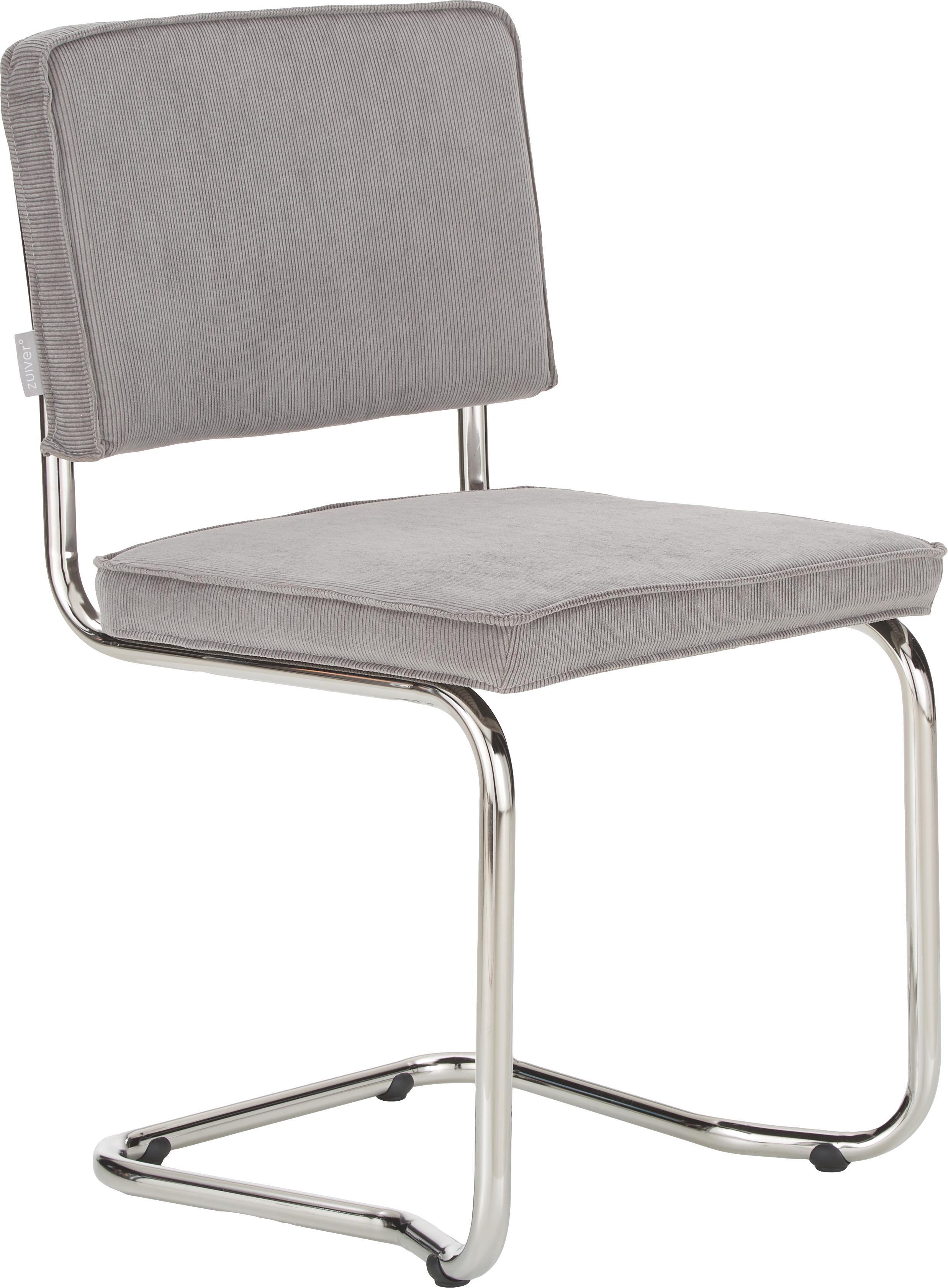 Silla cantilever Ridge Kink Chair, Tapizado: 88%nylon, 12%poliéster, Estructura: metal, cromado El tapizad, Pana gris clara, An 48 x F 48 cm