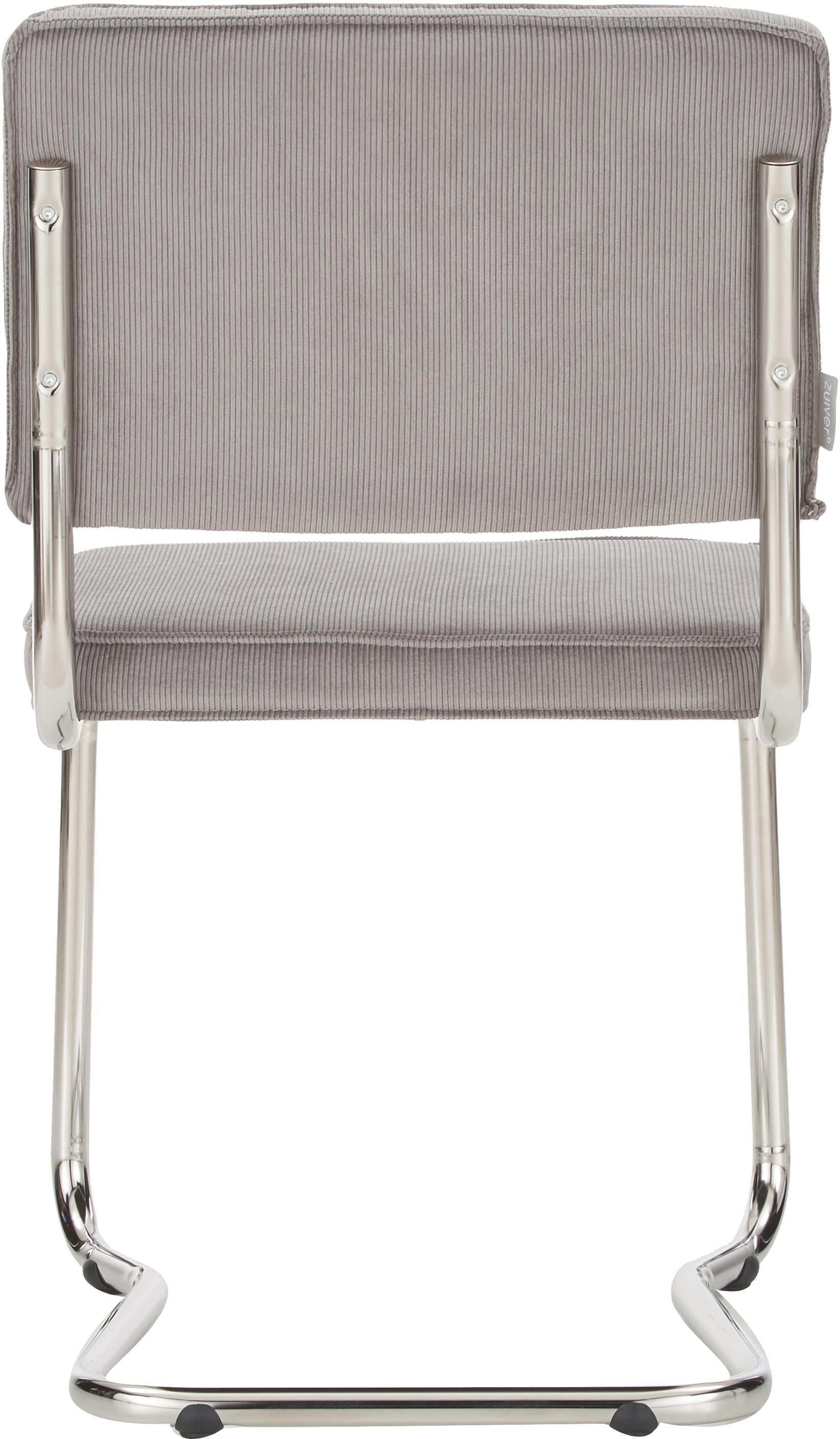 Freischwinger Ridge Kink Chair, Bezug: 88% Nylon, 12% Polyester, Gestell: Metall, verchromt Der Bez, Cord Hellgrau, B 48 x T 48 cm