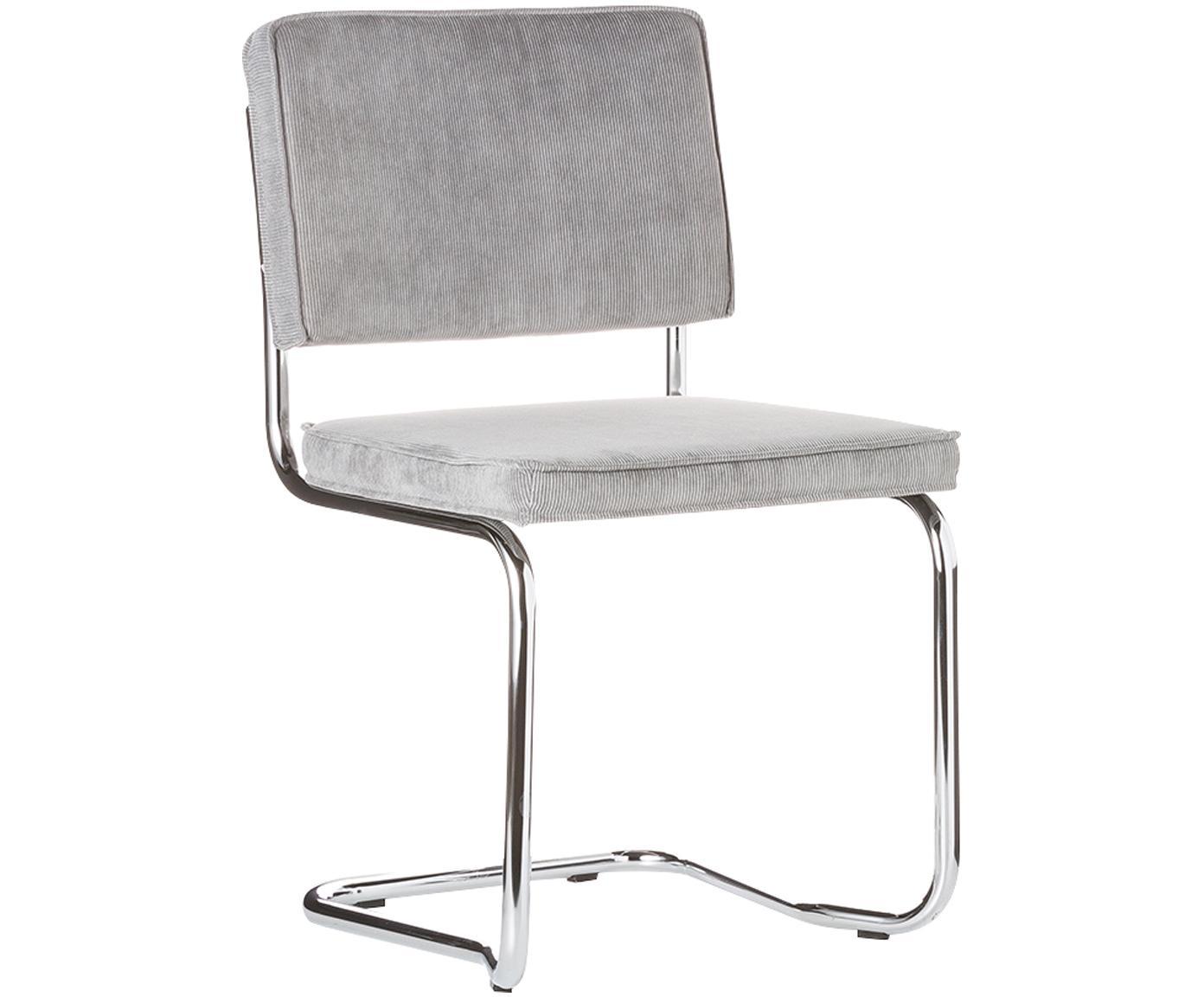 Cantilever stoel Ridge Kink Chair, Bekleding: 88% nylon, 12% polyester, Frame: verchroomd metaal, Lichtgrijs, 48 x 85 cm