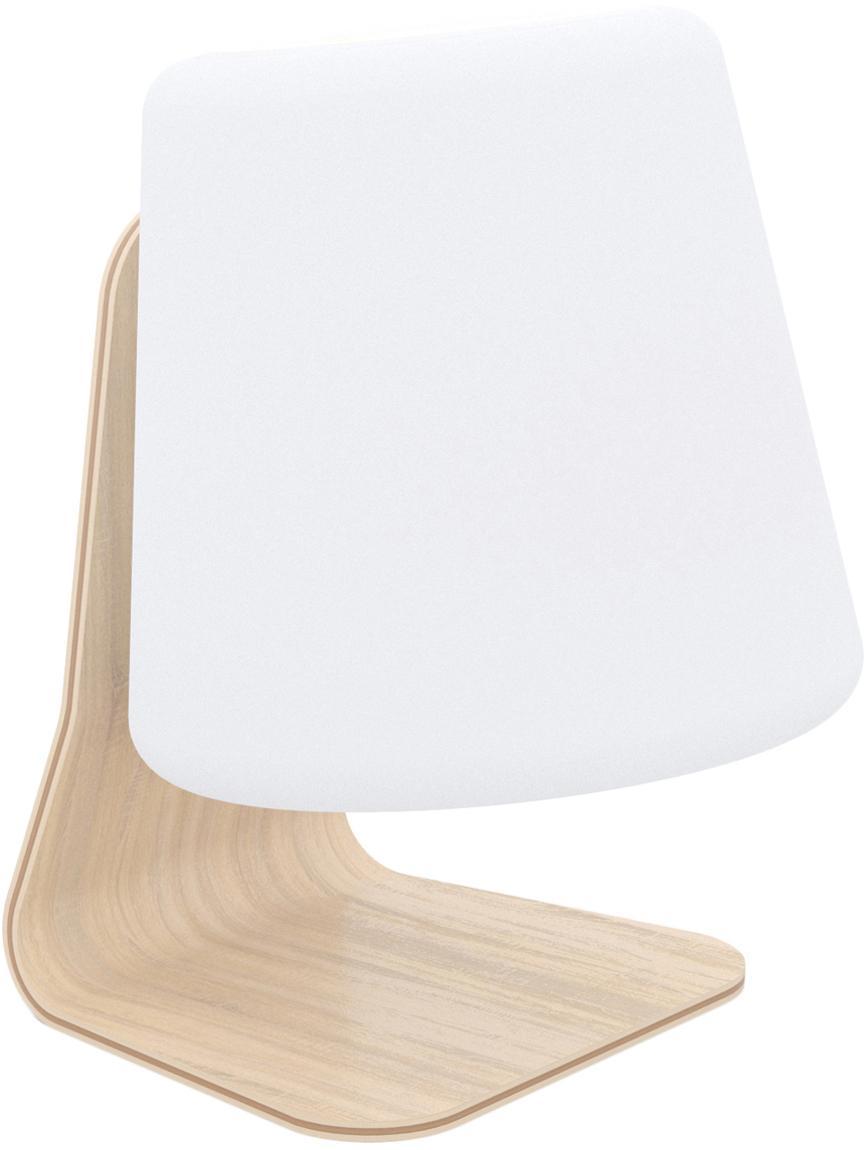 Mobiele outdoor LED lamp Table, Lampenkap: kunststof, Lampvoet: iepenhout met berkenhoutf, Wit, lichtbruin, 22 x 29 cm