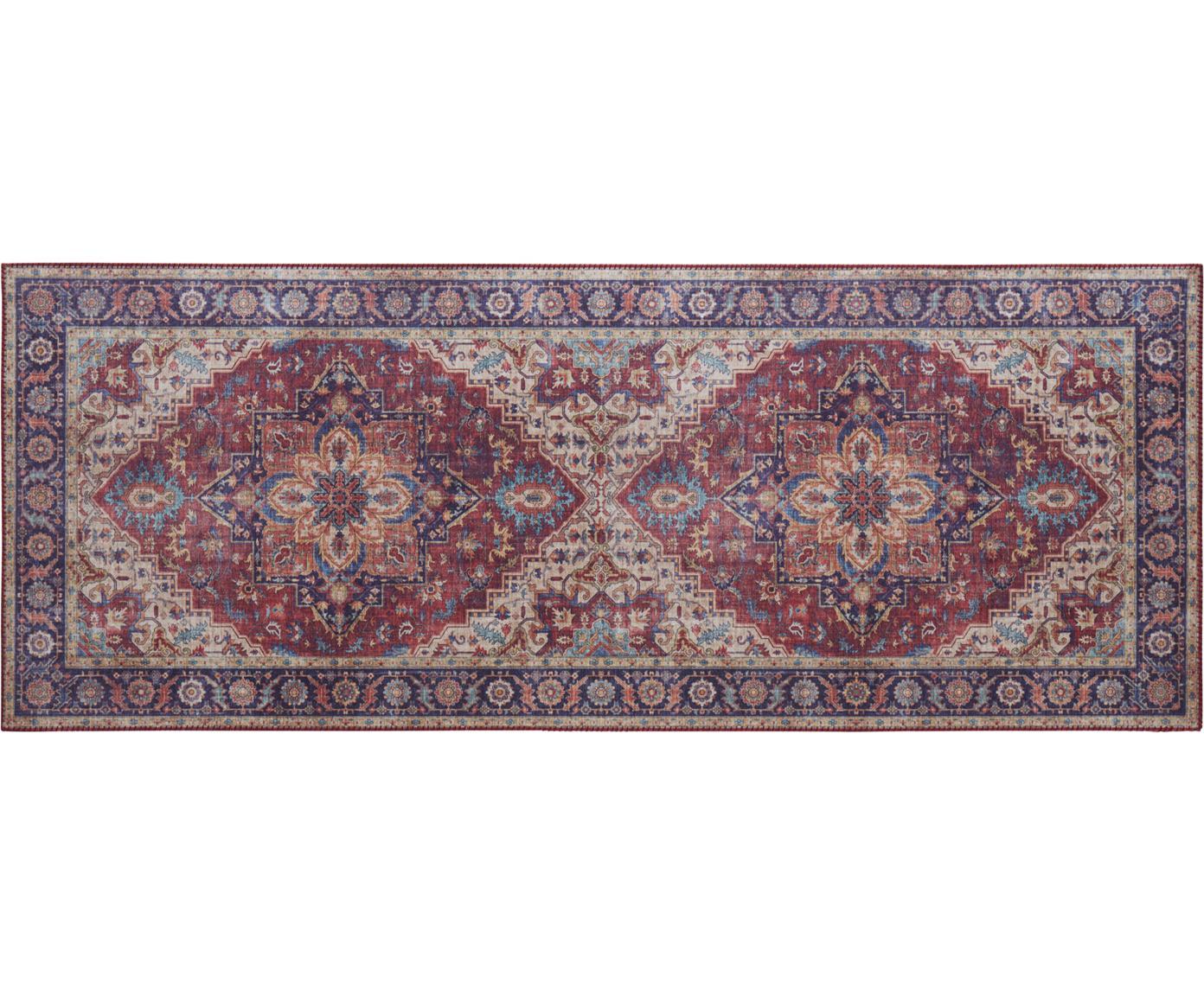 Loper Anthea in vintage stijl, Polyester, Pruimenrood, blauw, 80 x 200 cm