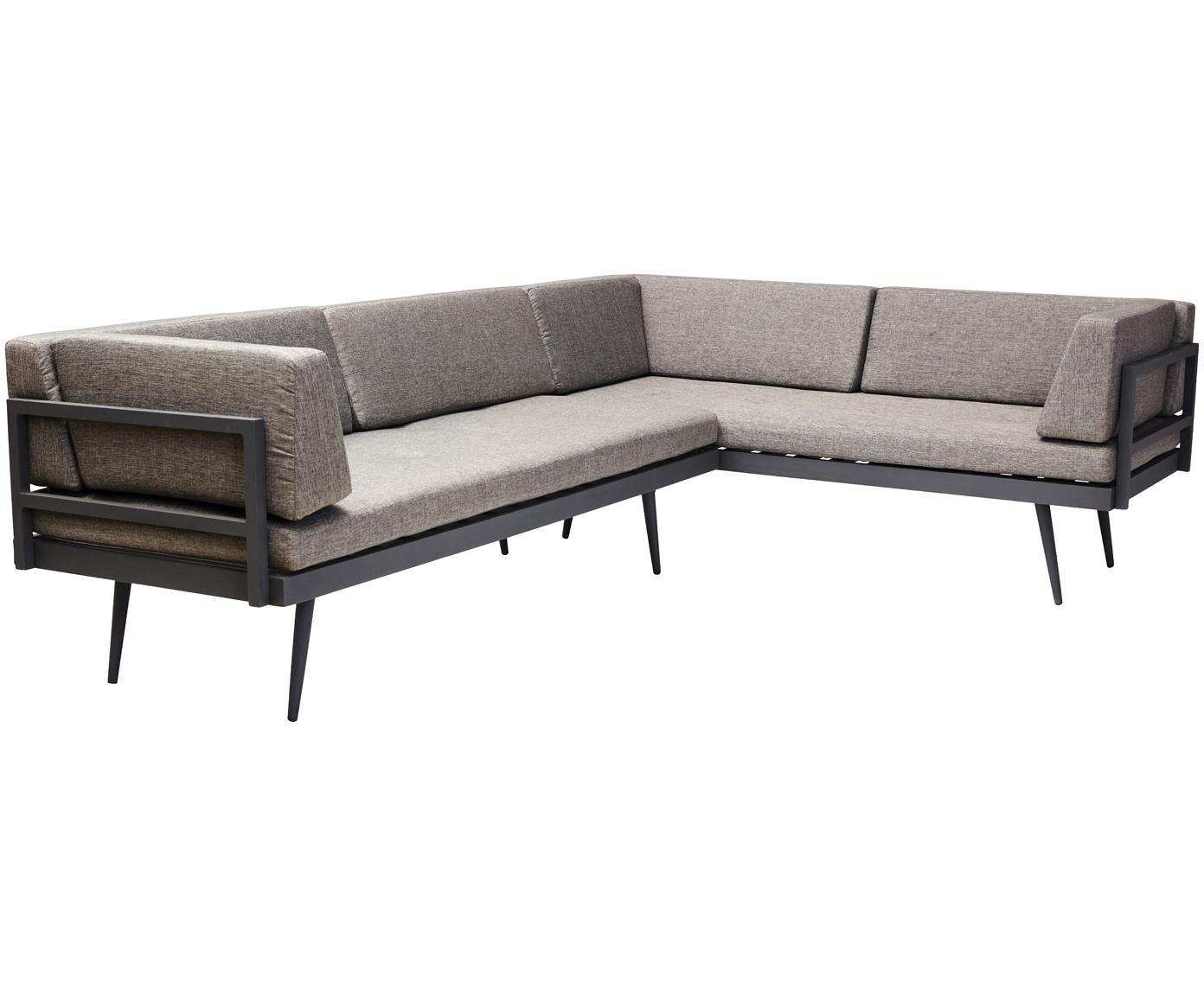 Sofá modular de jardín Rio, Estructura: aluminio, pintura en polv, Tapizado: poliéster con relleno de , Marrón, antracita, An 283 x Al 80 cm