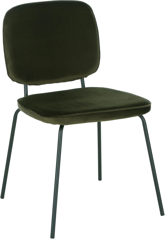 Sillas de terciopelo Jasper, 2uds., Tapizado: terciopelo (tapizado de p, Patas: metal con pintura en polv, Verde oscuro, An 49 x F 57 cm