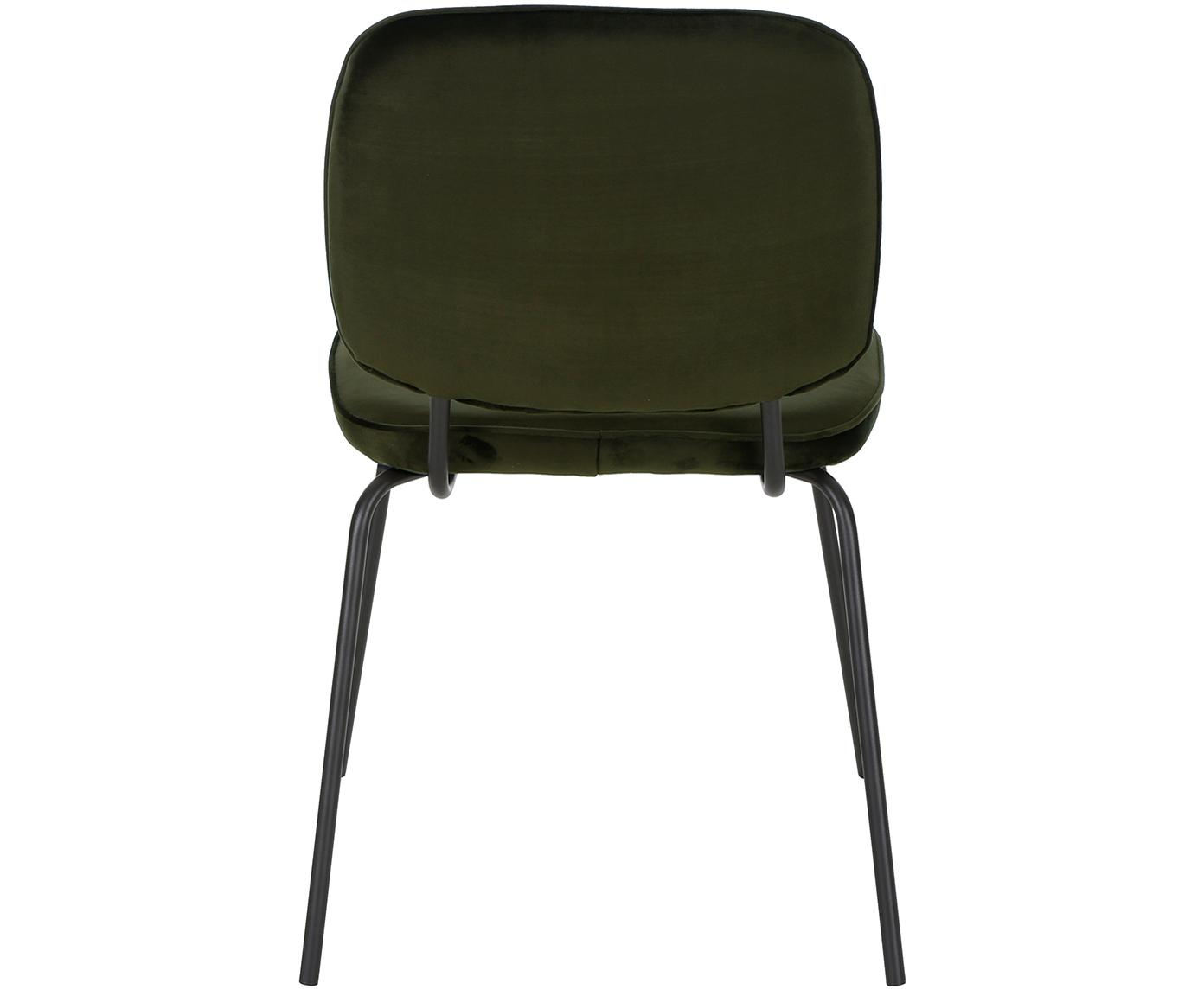 Krzesło tapicerowane z aksamitu Jasper, 2 szt., Tapicerka: aksamit (wysokiej jakości, Nogi: metal malowany proszkowo, Ciemny zielony, S 49 x G 57 cm