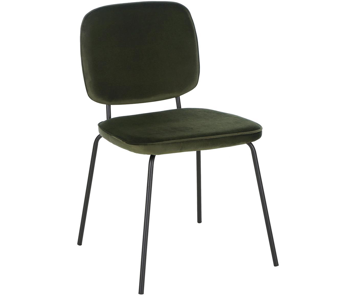 Fluwelen stoelen Jasper, 2 stuks, Bekleding: fluweel (hoogwaardig poly, Poten: gepoedercoat metaal, Donkergroen, B 49 x D 57 cm
