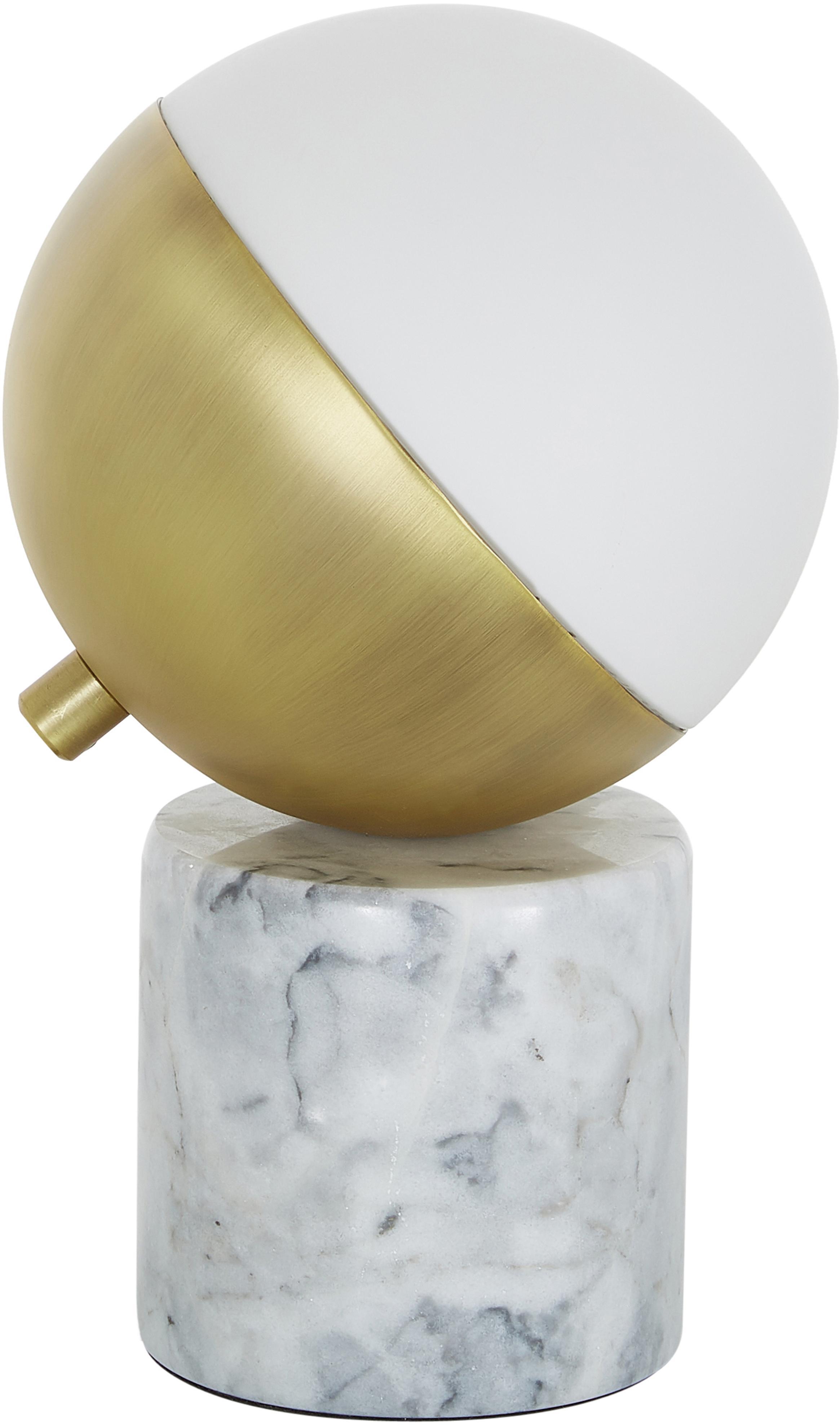 Marmor-Tischlampe Svea, Lampenschirm: Metall, Glas, Lampenfuss: Weisser MarmorLampenschirm: Weiss, Goldfarben, Ø 15 x H 25 cm