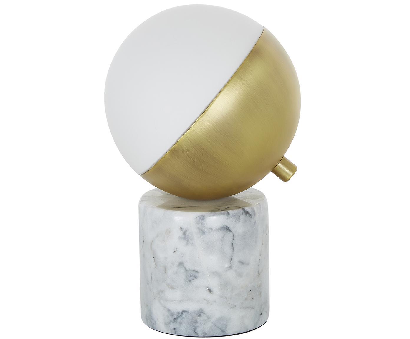 Lámpara de mesa de mármol Svea, Pantalla: metal, vidrio, Cable: cubierto en tela, Mármol blanco, blanco, dorado, Ø 15 x Al 25 cm