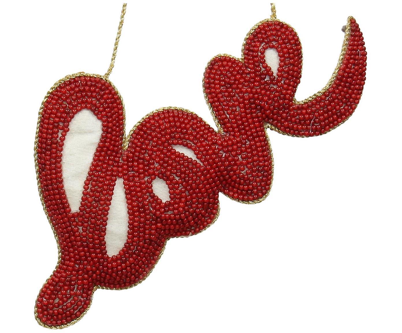 Kerstboomhanger Love, Rood, 16 x 8 cm