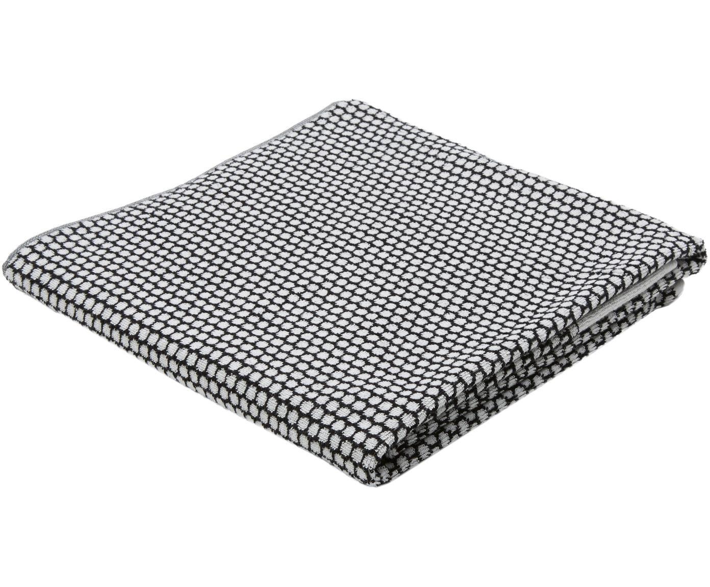 Gepunktetes Handtuch Grid, verschiedene Grössen, Schwarz, Gebrochenes Weiss, Duschtuch