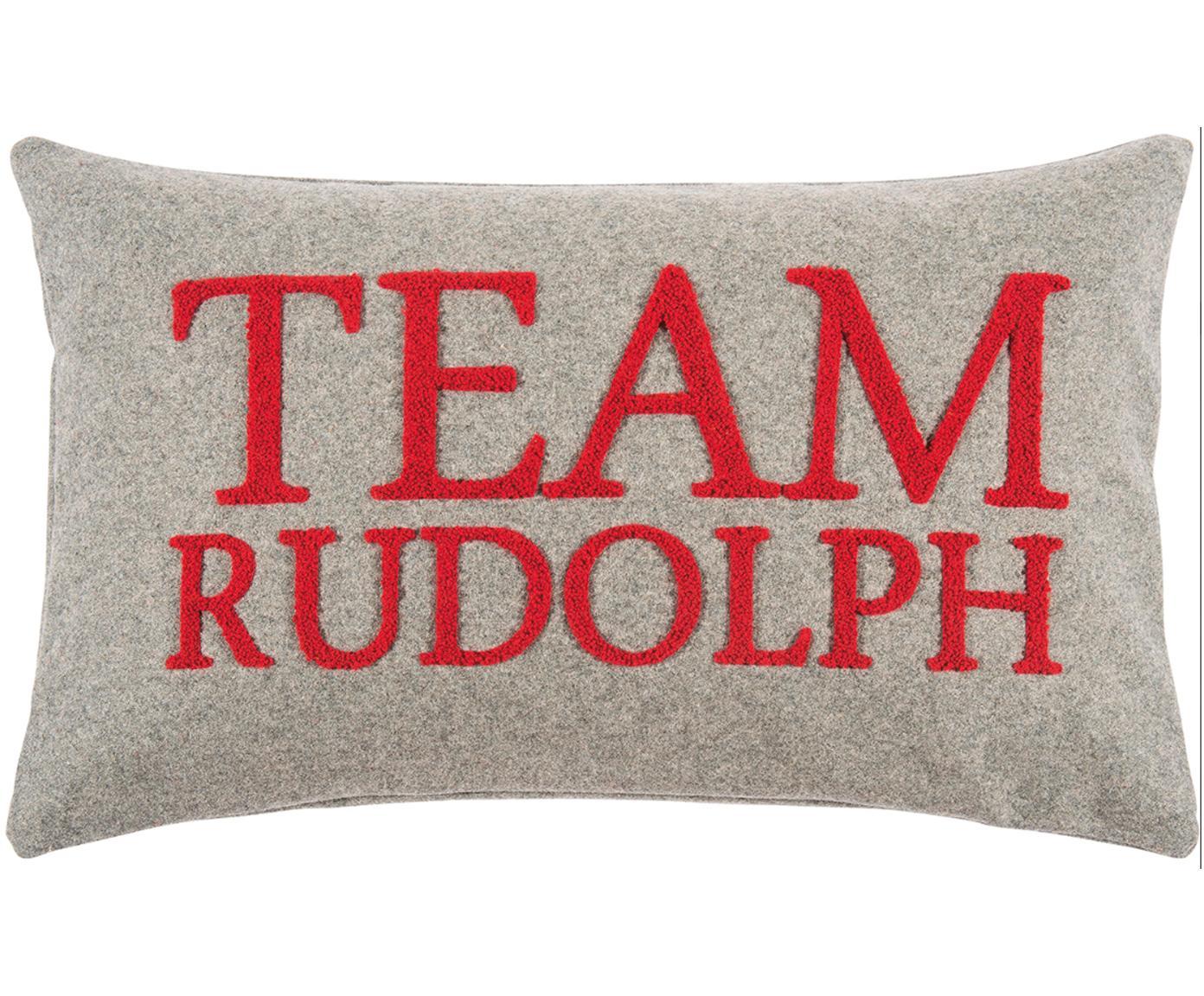 Federa arredo con scritta Rudolph, 60% lana, 40% poliestere, Grigio chiaro, rosso, Larg. 30 x Lung. 50 cm