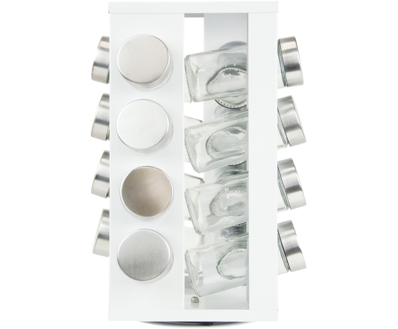 Kruidenrek Soho, 17-delig, Glas, metaal, kunststof, edelstaal, Wit, transparant, zilverkleurig, 18 x 29 cm
