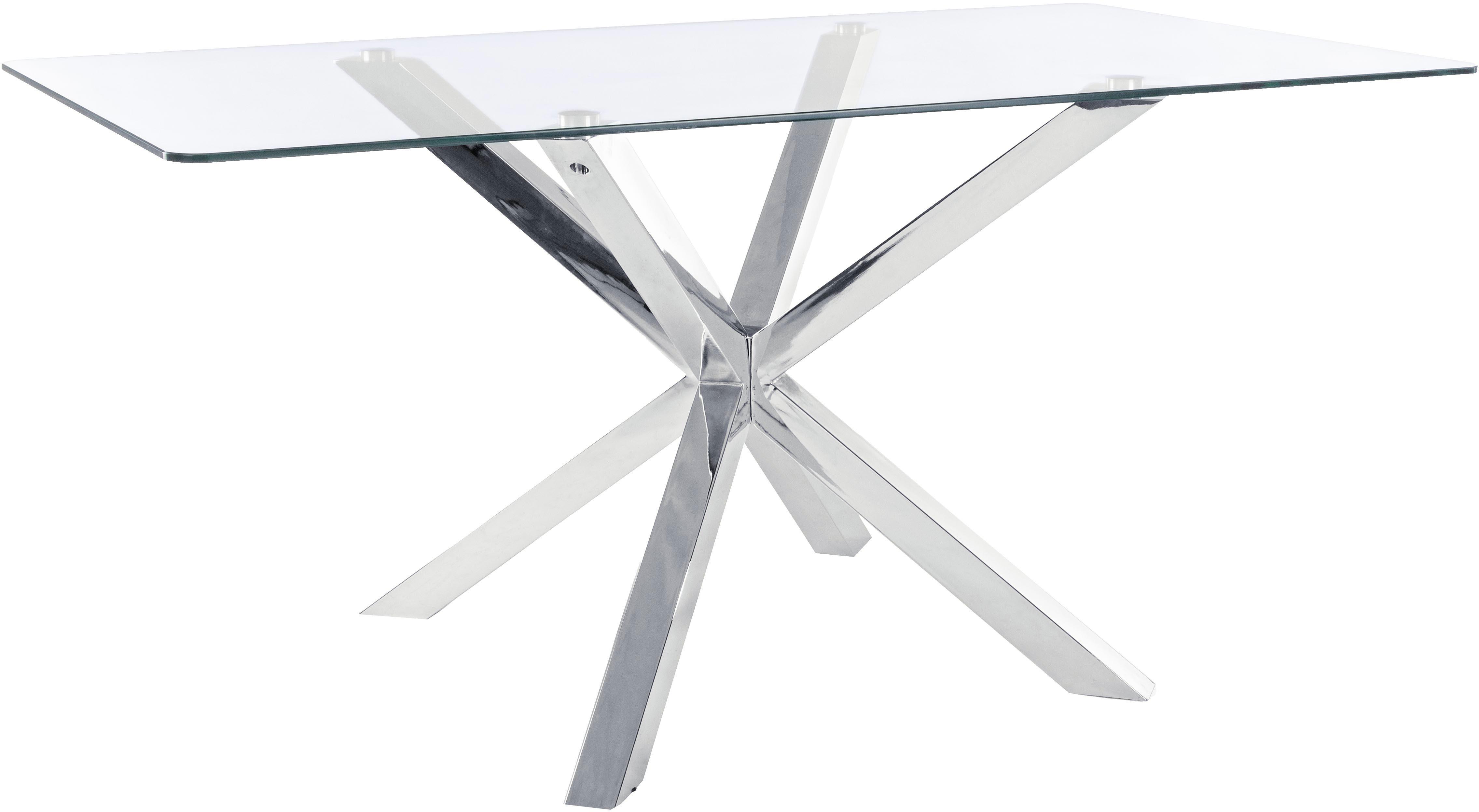 Esstisch May mit Glasplatte, Tischplatte: Glas, Beine: Edelstahl, poliert, Tischplatte: TransparentBeine: Edelstahl, B 160 x T 90 cm