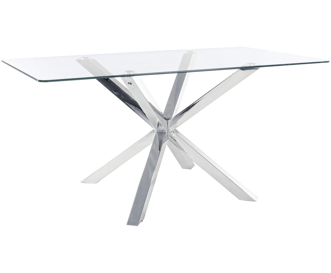 Eettafel May met glazen tafelblad, Tafelblad: glas, Poten: gepolijst edelstaal, Tafelblad: transparant. Poten: edelstaalkleurig, B 160 x D 90 cm