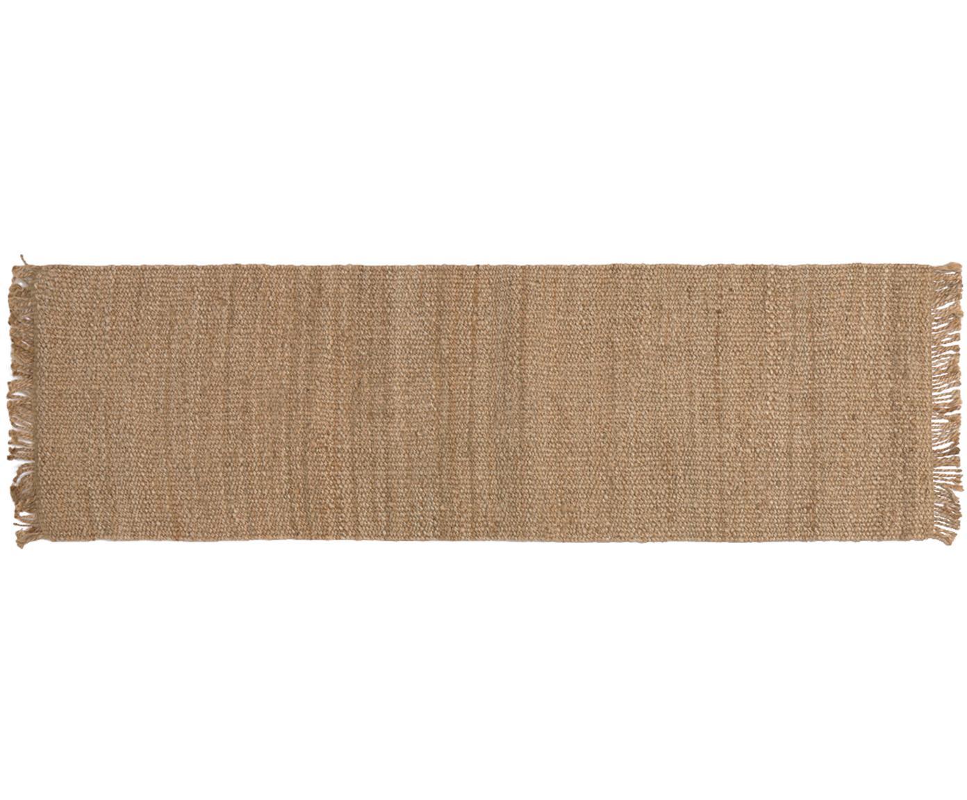 Handgefertigter Jute-Läufer Cadiz mit Fransen, 100% Jute, Jute, 70 x 240 cm