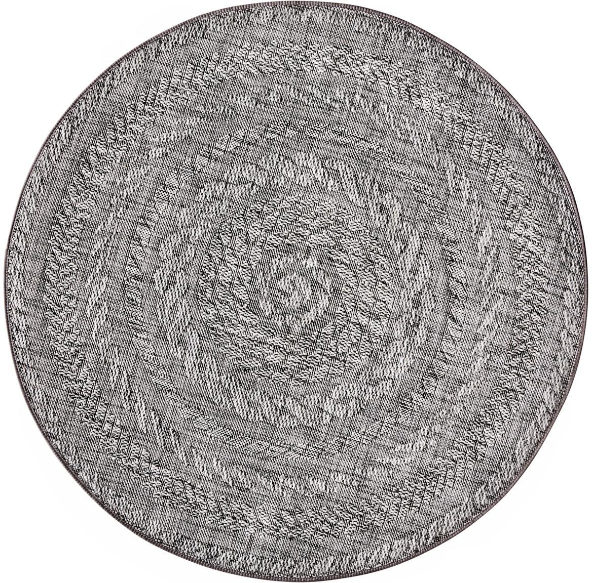 Rond in- en outdoor vloerkleed Antaro, Polypropyleen, Lichtgrijs, Ø 160 cm (maat L)