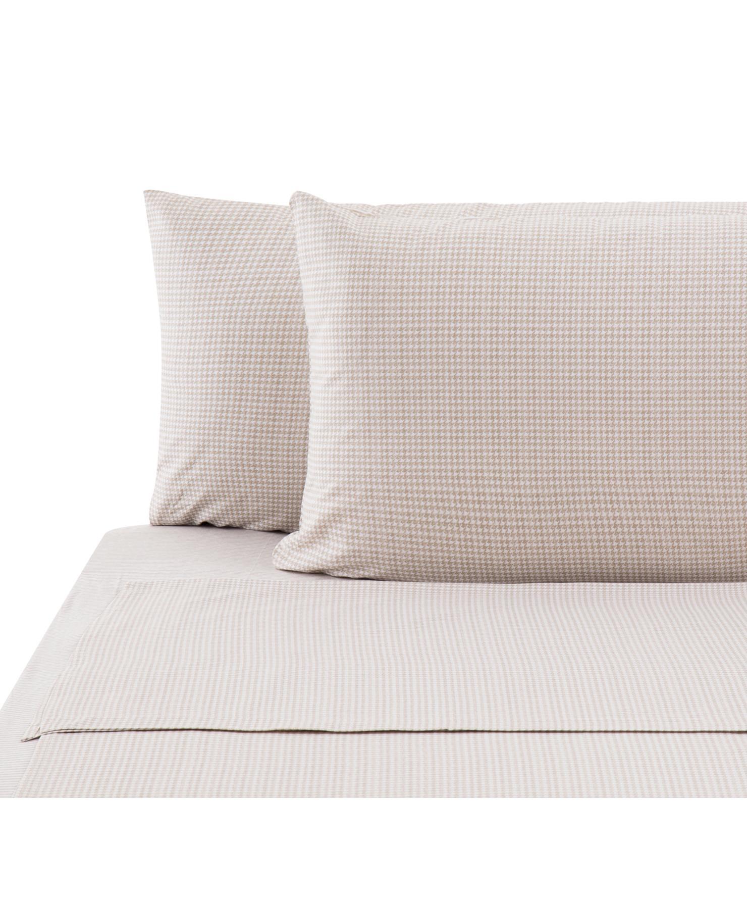 Set lenzuola in cotone ranforce Grady 4 pz, Tessuto: Renforcé, Beige, bianco, 290 x 240 cm