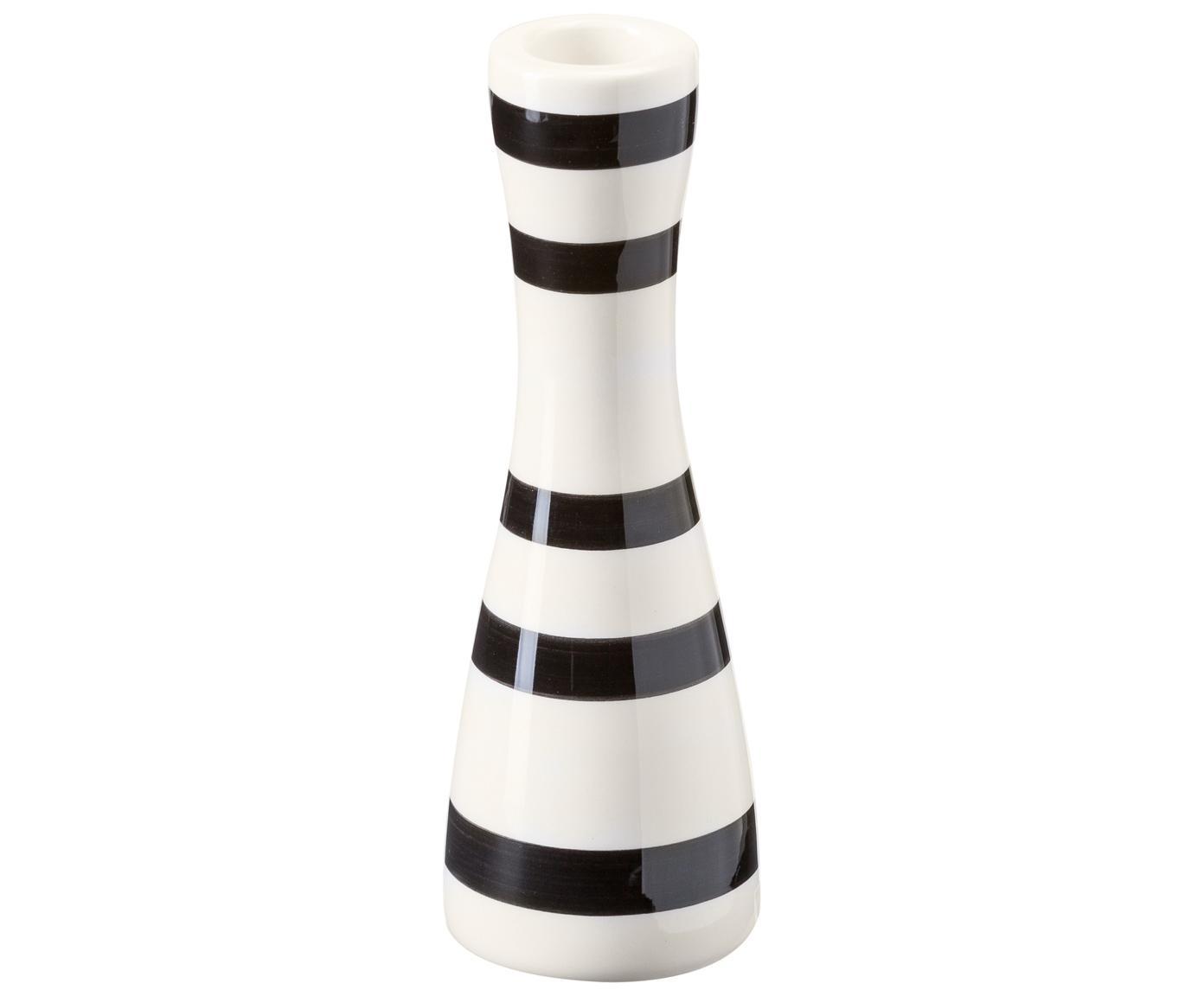 Kerzenhalter Omaggio, Keramik, Schwarz, Weiß, Ø 6 x H 16 cm