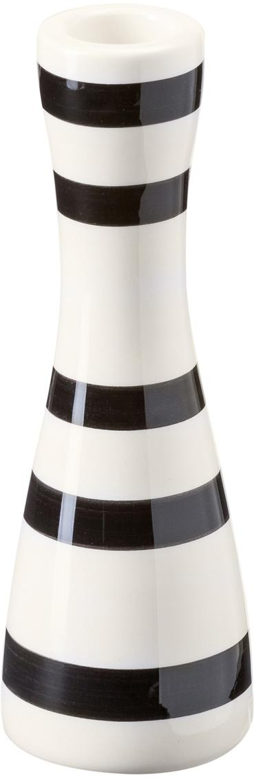 Kandelaar Omaggio, Keramiek, Zwart, wit, Ø 6 x H 16 cm