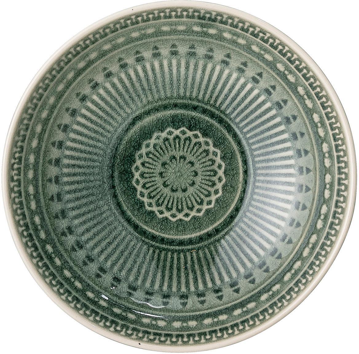 Ręcznie wykonana miska Rani, Kamionka, Zielony, Ø 18 cm