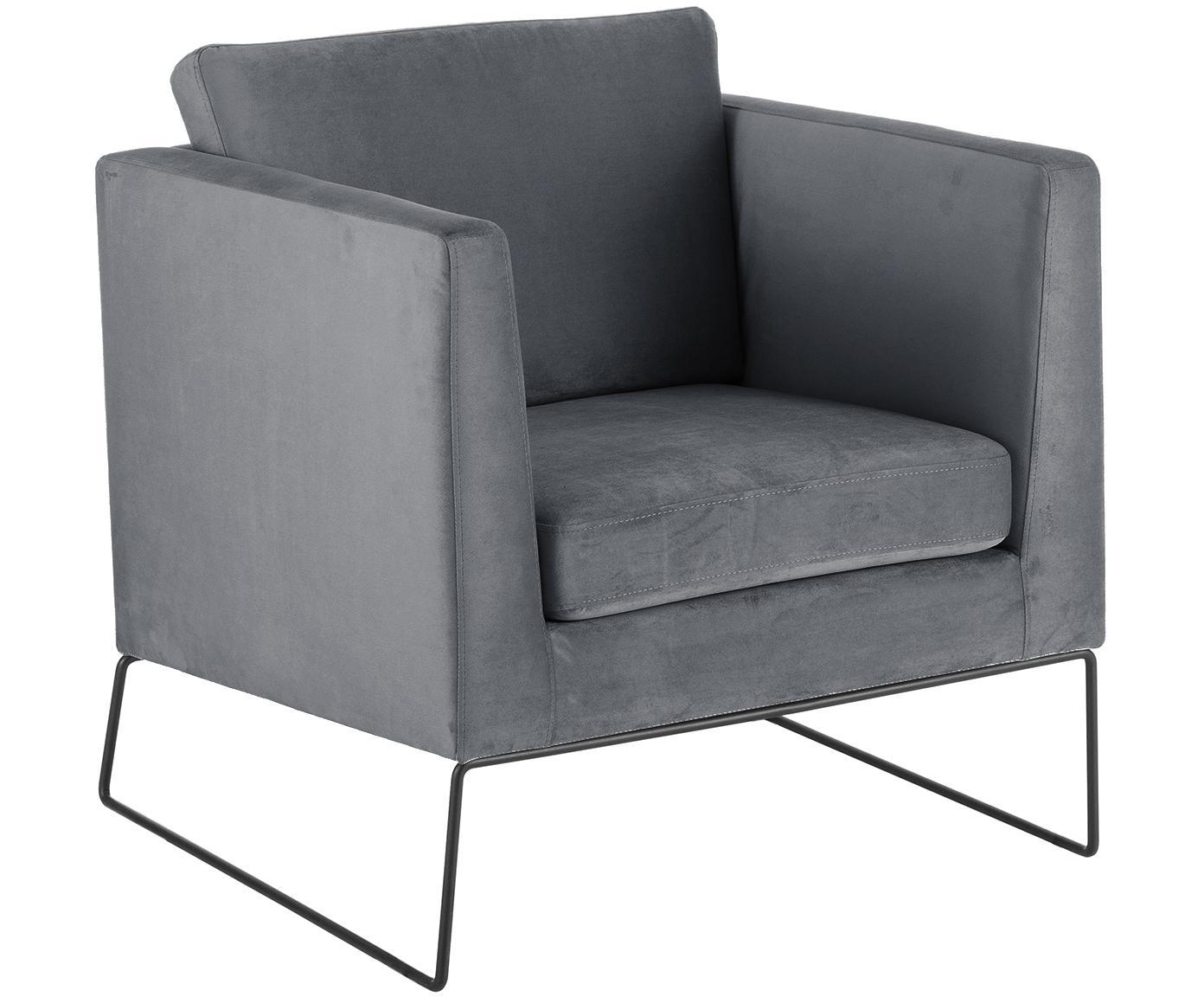 Klassischer Samt-Sessel Milo in Grau, Bezug: Samt (hochwertiger Polyes, Gestell: Kiefernholz, Beine: Metall, lackiert, Samt Grau, 77 x 75 cm