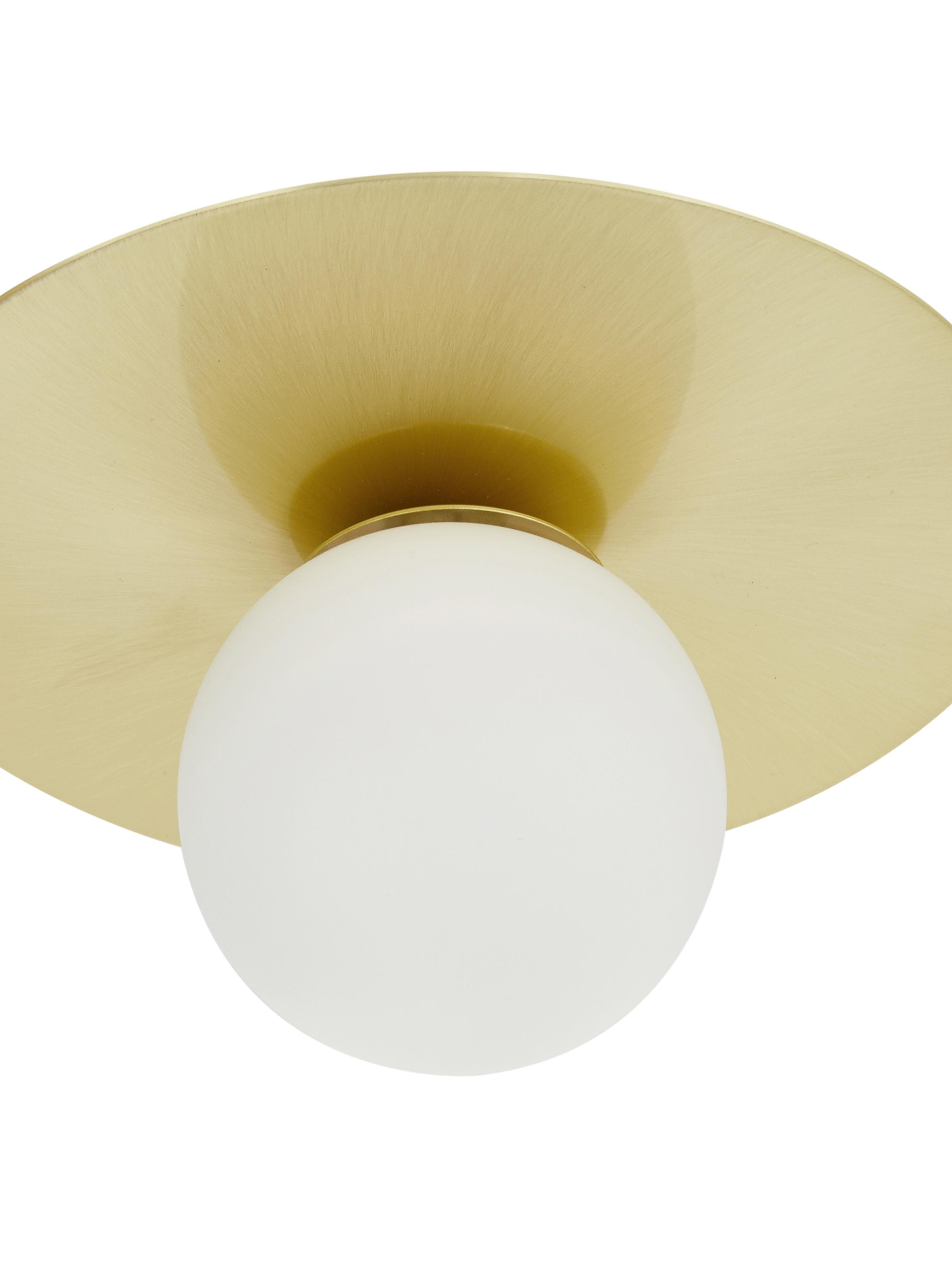 Plafonnier métal doré Ciara, Rosace et douille: laiton, mat Abat-jour: blanc