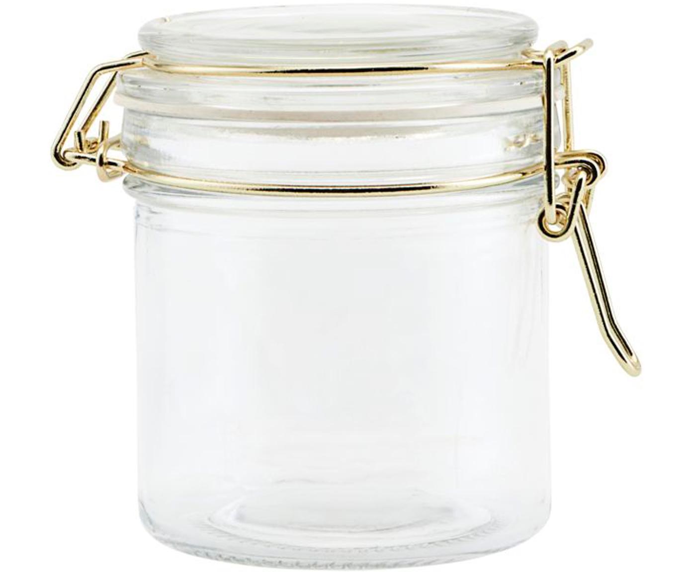 Aufbewahrungsdose Vario mit goldenen Applikationen, Dose: Glas, Verschluss: Edelstahl, beschichtet, Transparent, Messingfarben, Ø 8 x H 10 cm