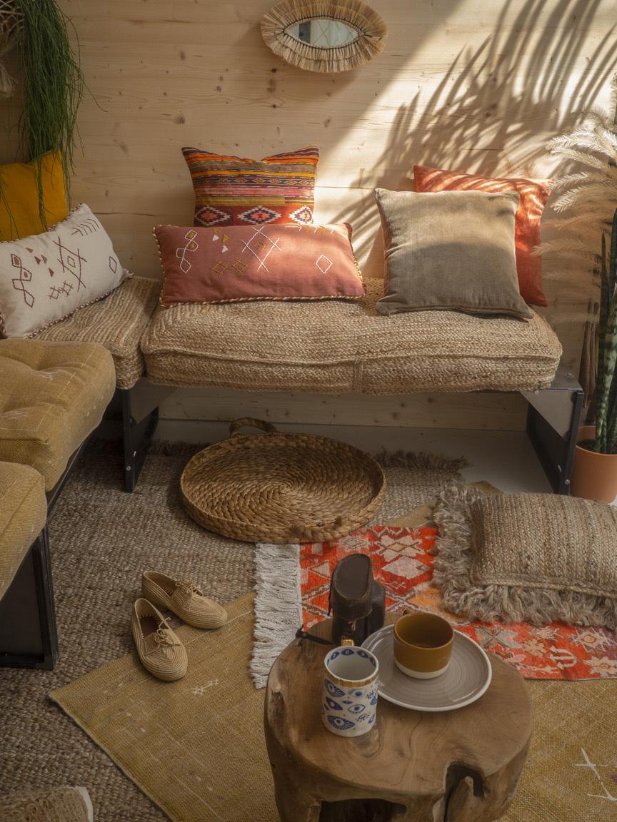 Kissenhülle Kusa mit Ethnomuster, 100% Baumwolle, Mehrfarbig, 45 x 45 cm