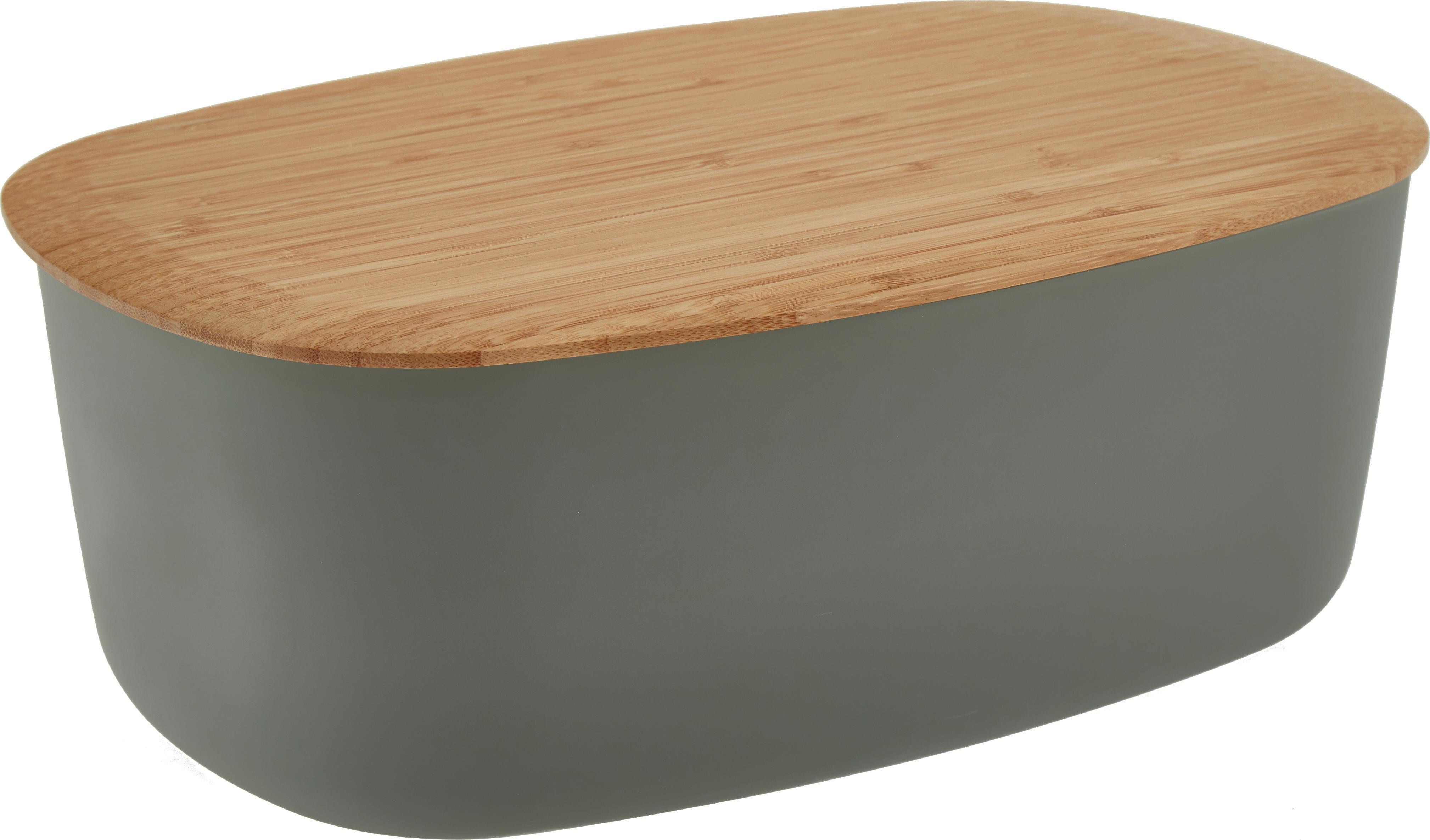 Portapane con coperchio in bambù Box-It, Contenitore: melamina, Coperchio: bambù, Contenitore: grigio Coperchio: marrone, Larg. 35 x Alt. 12 cm