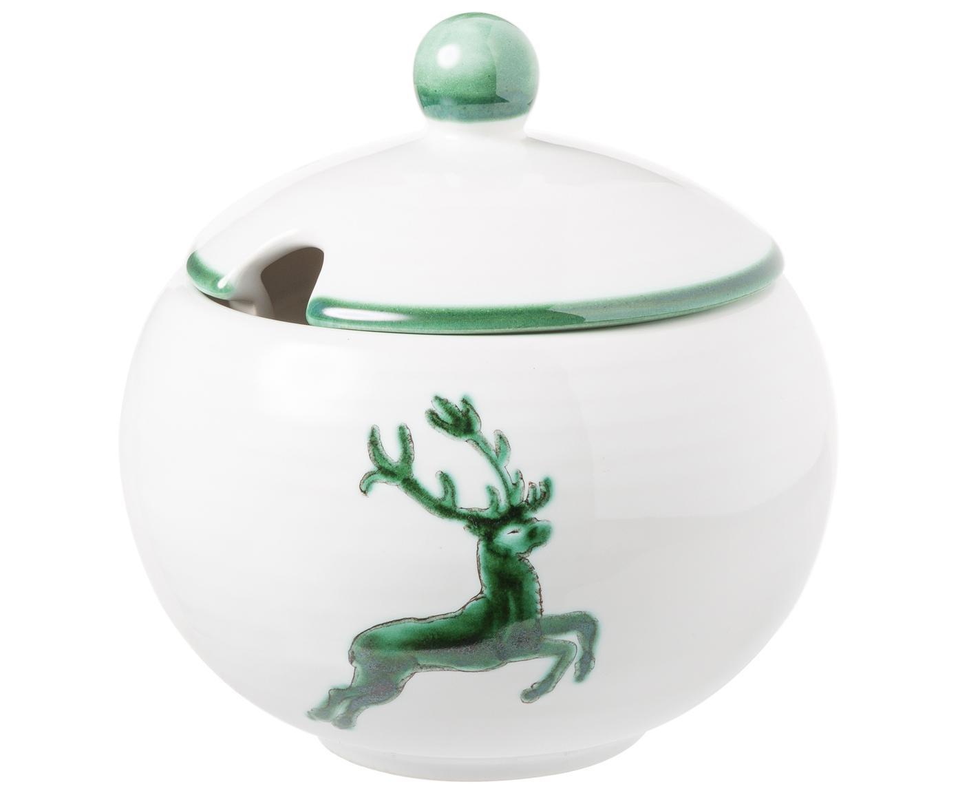 Zuccheriera in ceramica dipinta a mano Classic Grüner Hirsch, Ceramica, Bianco, Ø 10 cm
