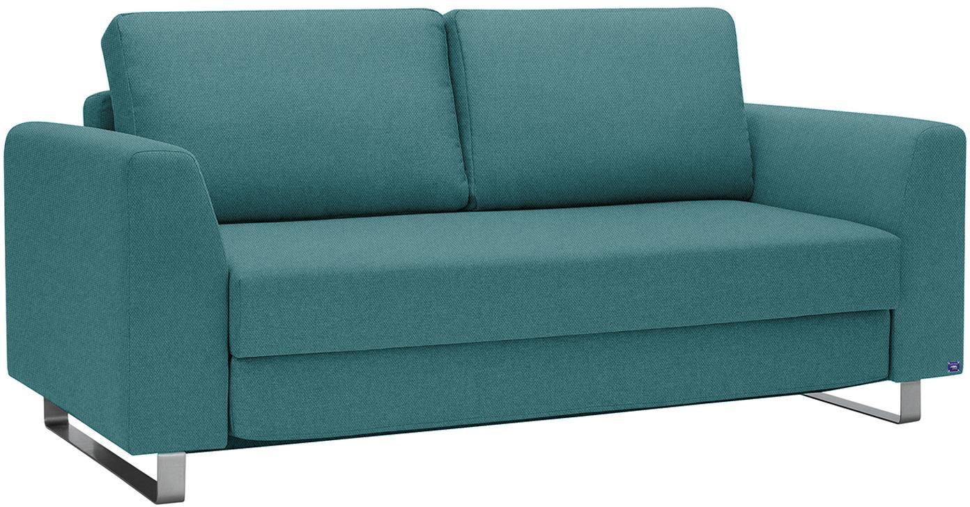 Schlafsofa Bruno (3-Sitzer), Bezug: Pflegeleichtes robustes P, Rahmen: Massivholz, Webstoff Türkis, B 200 x T 84 cm