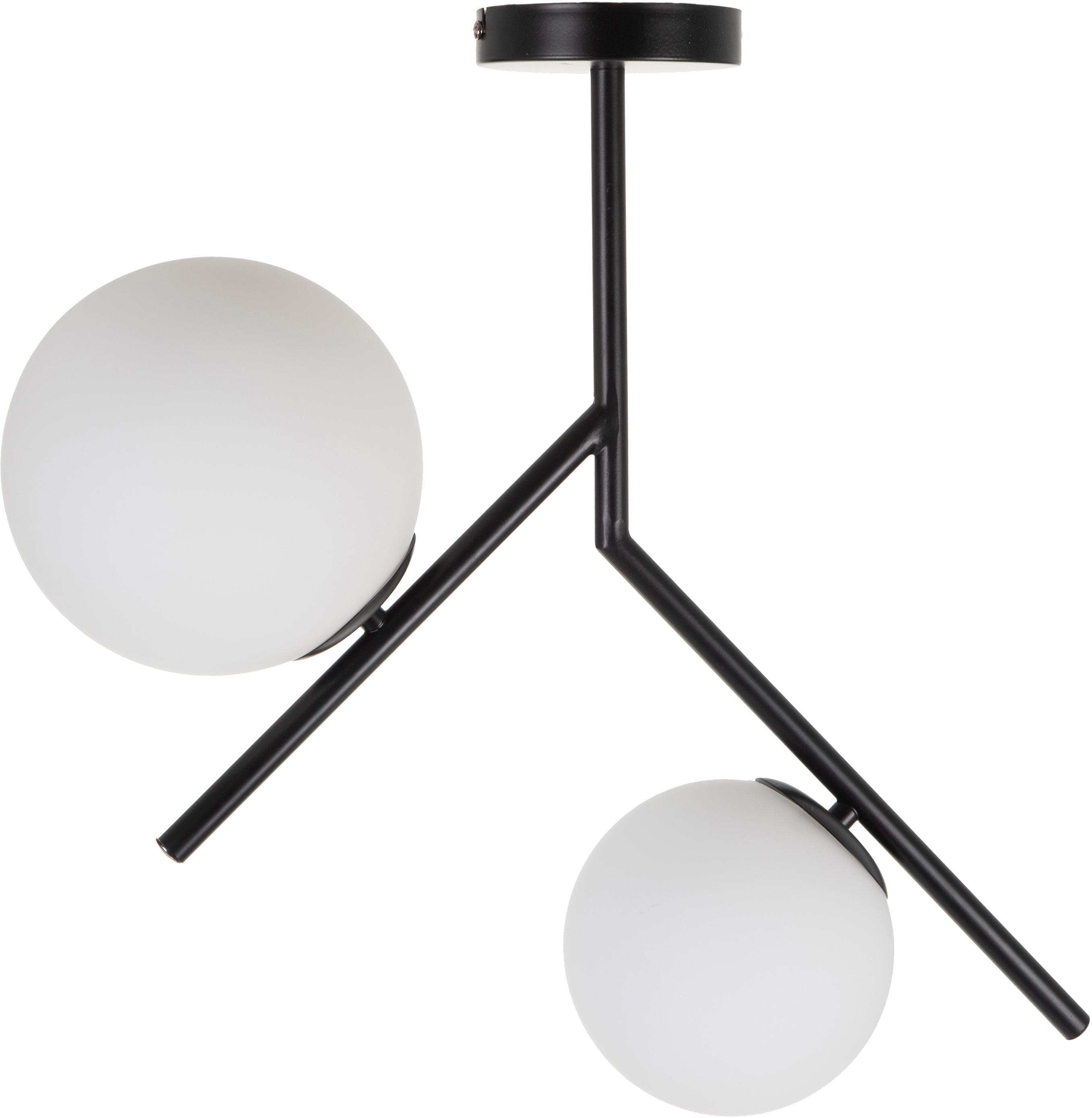 Plafondlamp Spheric, Metaal, glas, Zwart, wit, B 15 x D 58 cm