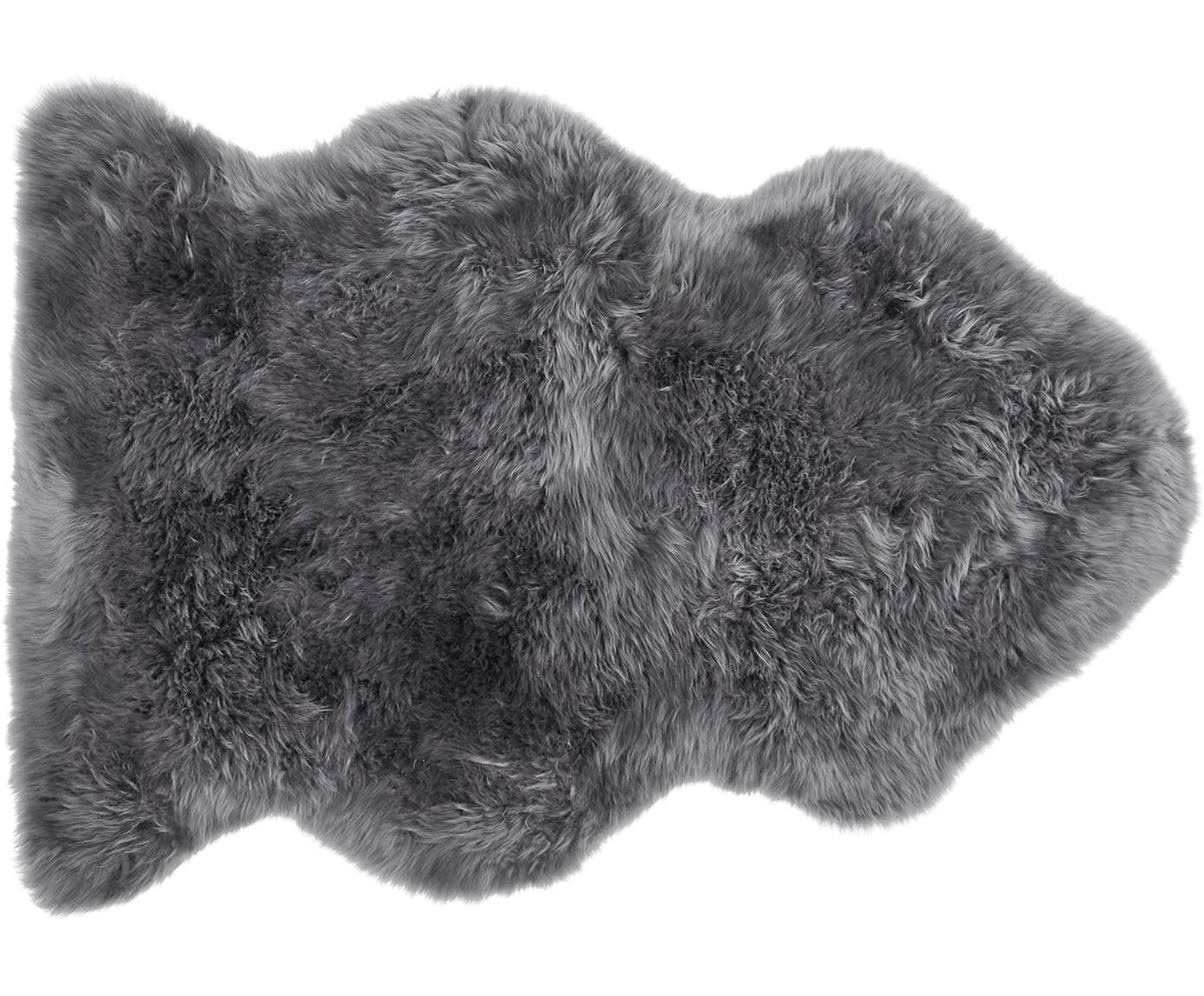 Piel de oveja Oslo, Parte delantera: 100%piel de oveja, Parte trasera: 100%cuero cuertido, Gris oscuro, An 60 x L 90 cm