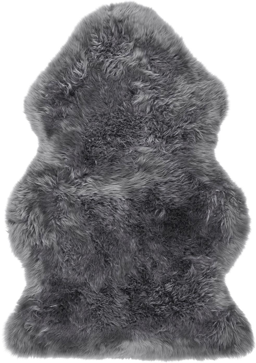 Schapenvacht Oslo, glad, Bovenzijde: 100% schapenvacht, Onderzijde: 100% leer, chroomvrij gel, Donkergrijs, 60 x 90 cm