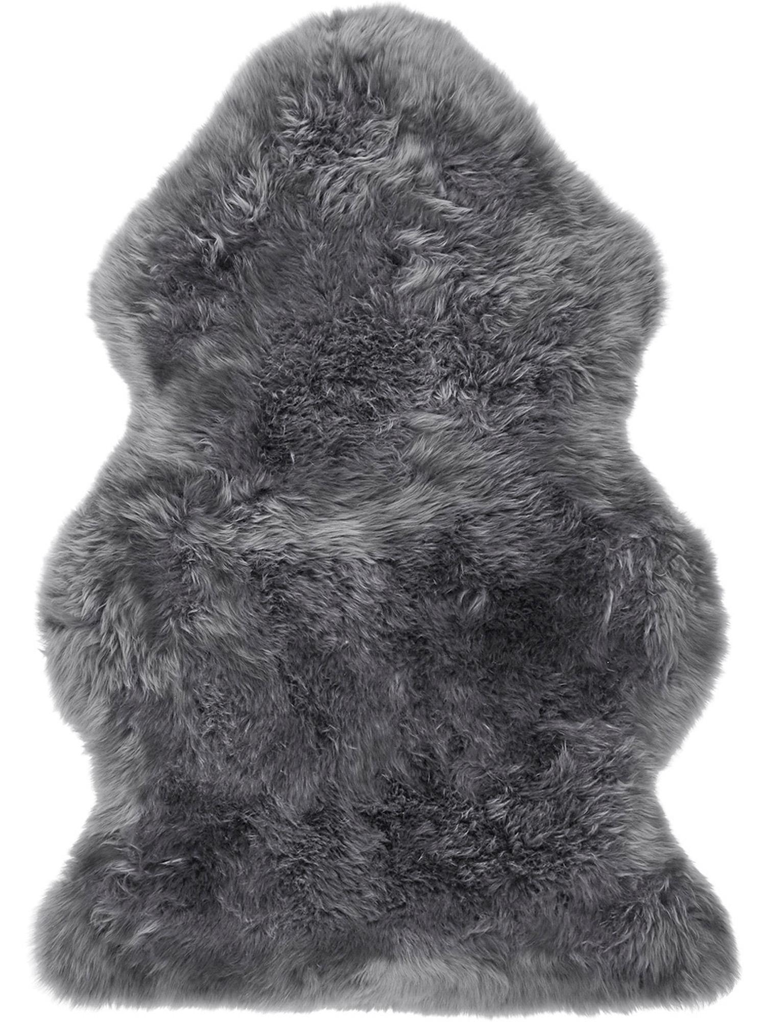 Pelliccia di pecora Oslo, Retro: 100% pelle, rivestito sen, Grigio scuro, Larg. 60 x Lung. 90 cm