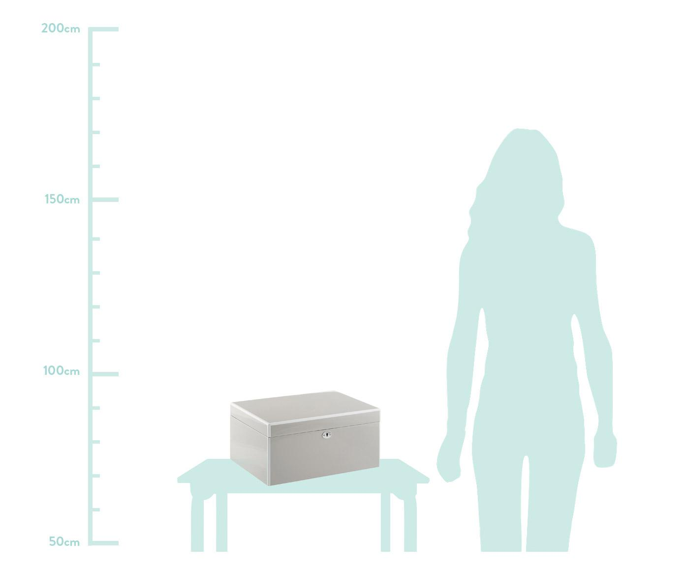 Schmuckbox Juliana mit Spiegel, Kästchen: Mitteldichte Holzfaserpla, Unterseite: Samt zur Schonung der Möb, Grau mit weisser Kante, 31 x 16 cm