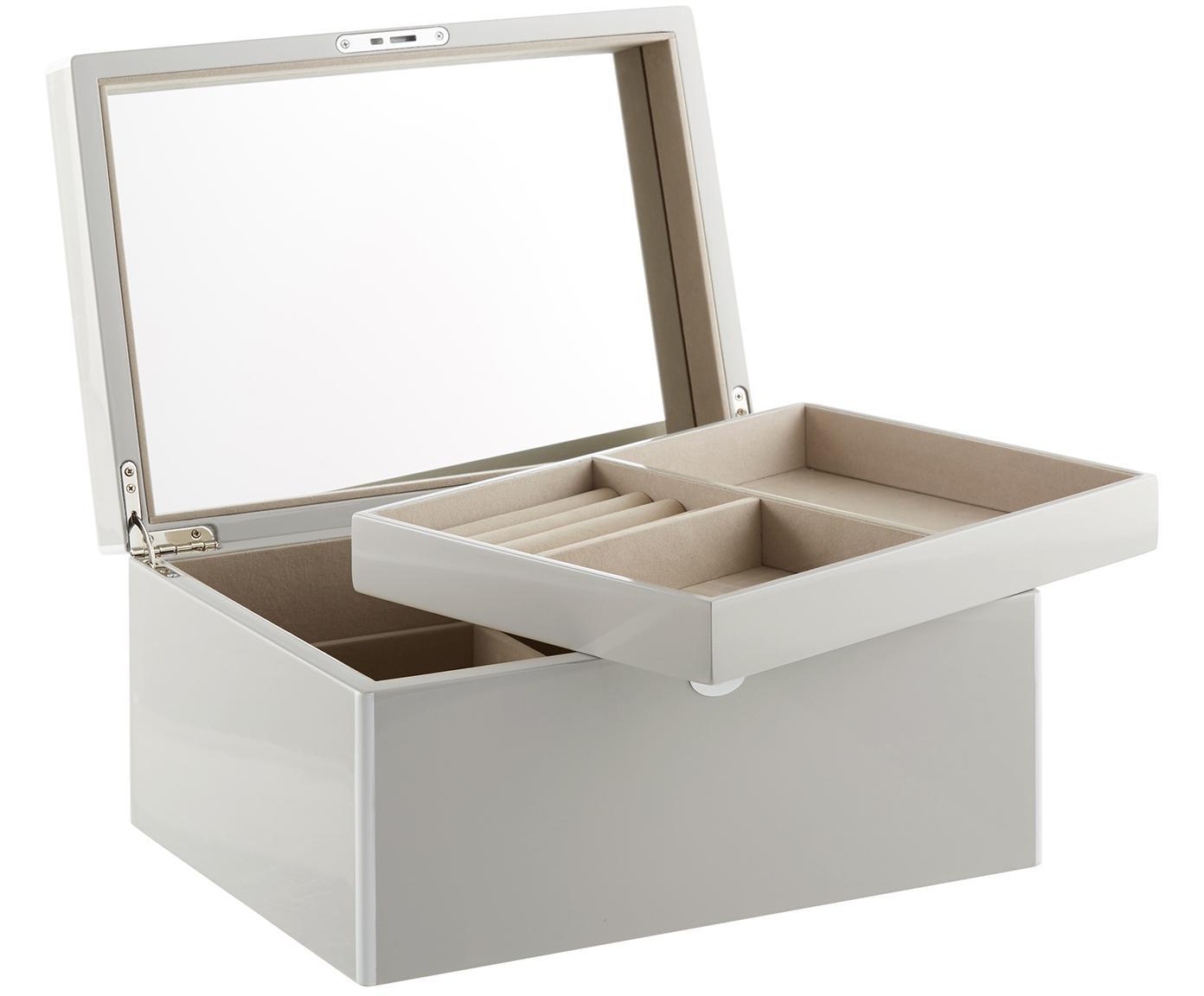 Sieradendoos Juliana met spiegel, Doos: gecoat MDF, Onderzijde: fluweel om het meubilair , Grijs met witte rand, 31 x 23 cm