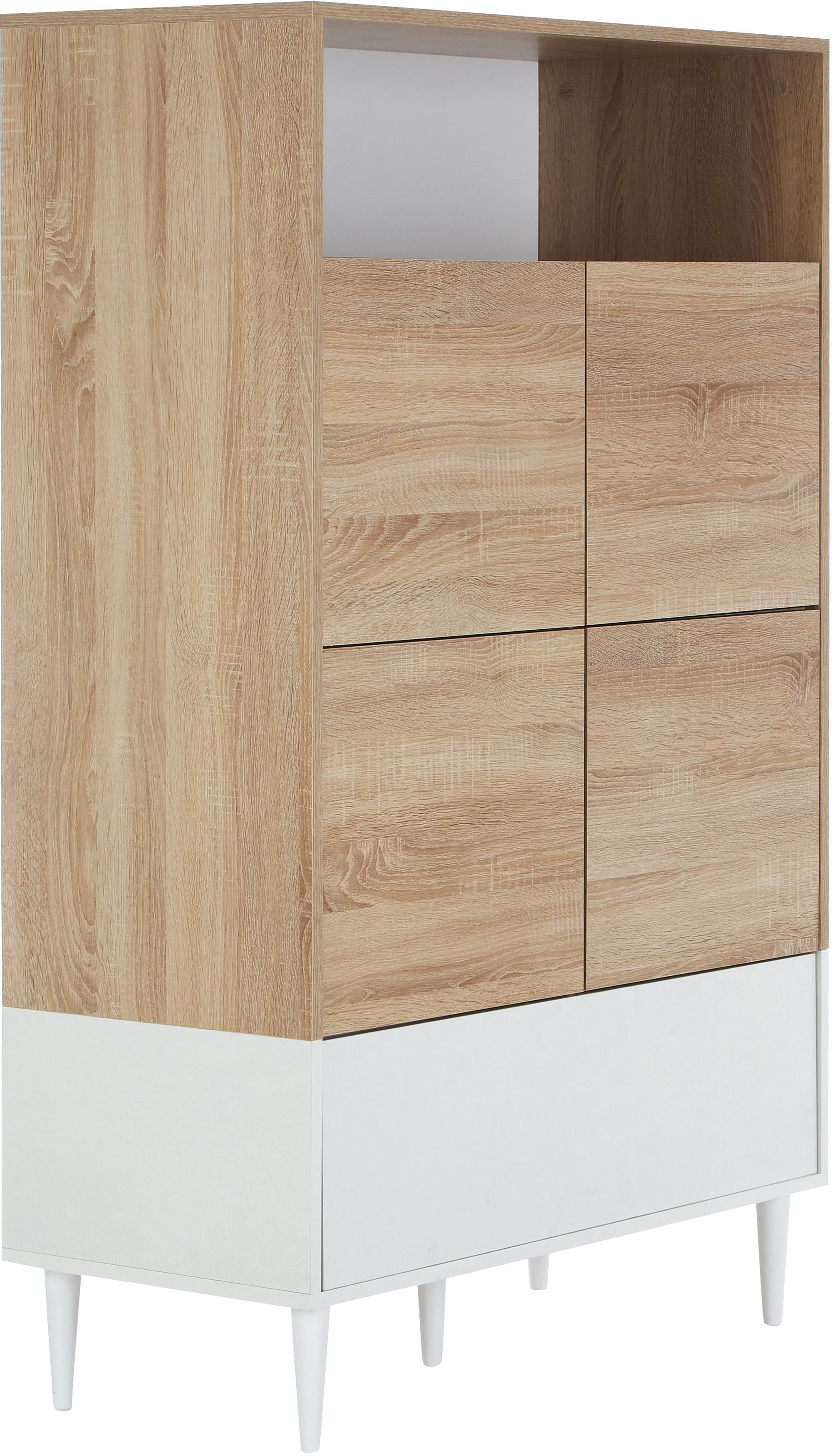 Chiffonnier Horizon, estilo escandinavo, Estructura: aglomerado, recubierto de, Patas: madera de haya maciza, pi, Roble, blanco, An 90 x Al 141 cm