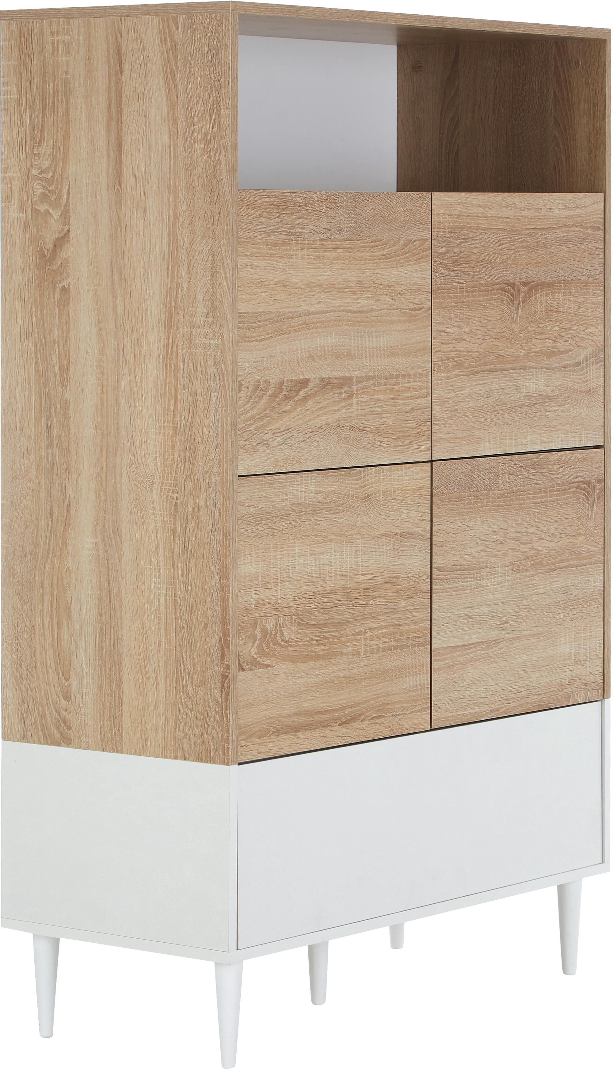 Hohes Highboard Horizon im Skandi Design, Korpus: Spanplatte, melaminbeschi, Füße: Buchenholz, massiv, lacki, Eichenholz, Weiß, 90 x 141 cm