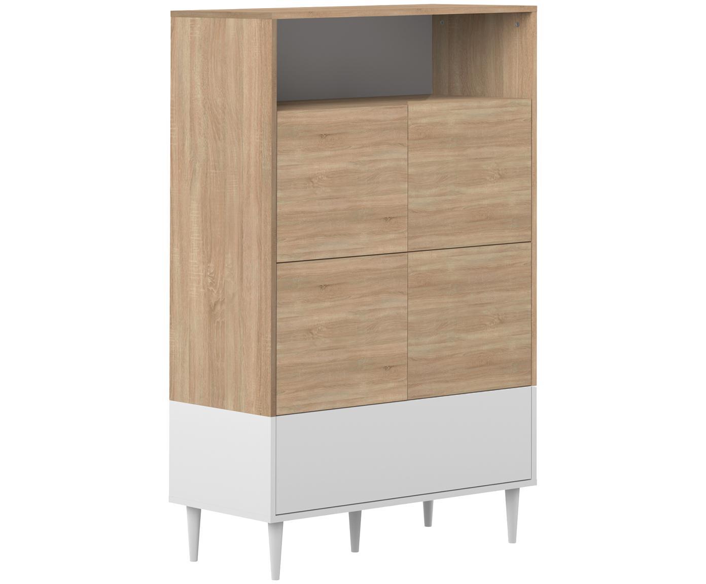 Hohes Highboard Horizon im Skandi Design, Korpus: Spanplatte, melaminbeschi, Eichenholz, Weiss, 90 x 141 cm