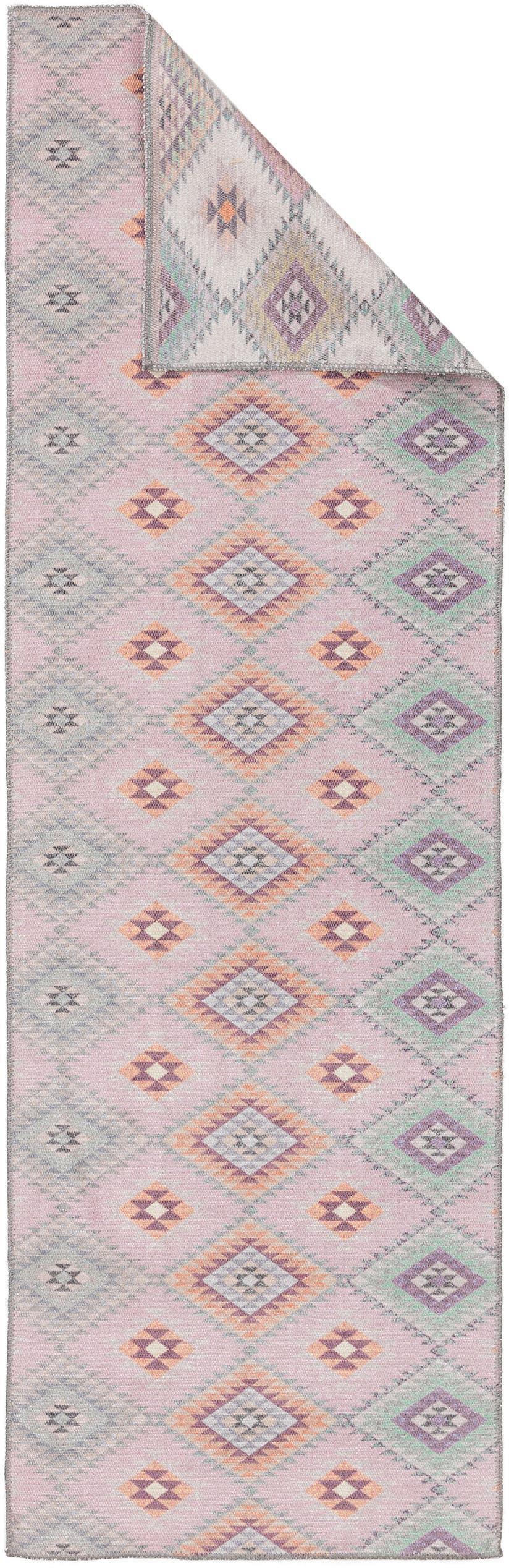 Wendeläufer Kelim Ana mit Ethnomuster in Rosafarben, 80% Polyester 20% Baumwolle, Rosa, Mehrfarbig, 75 x 230 cm