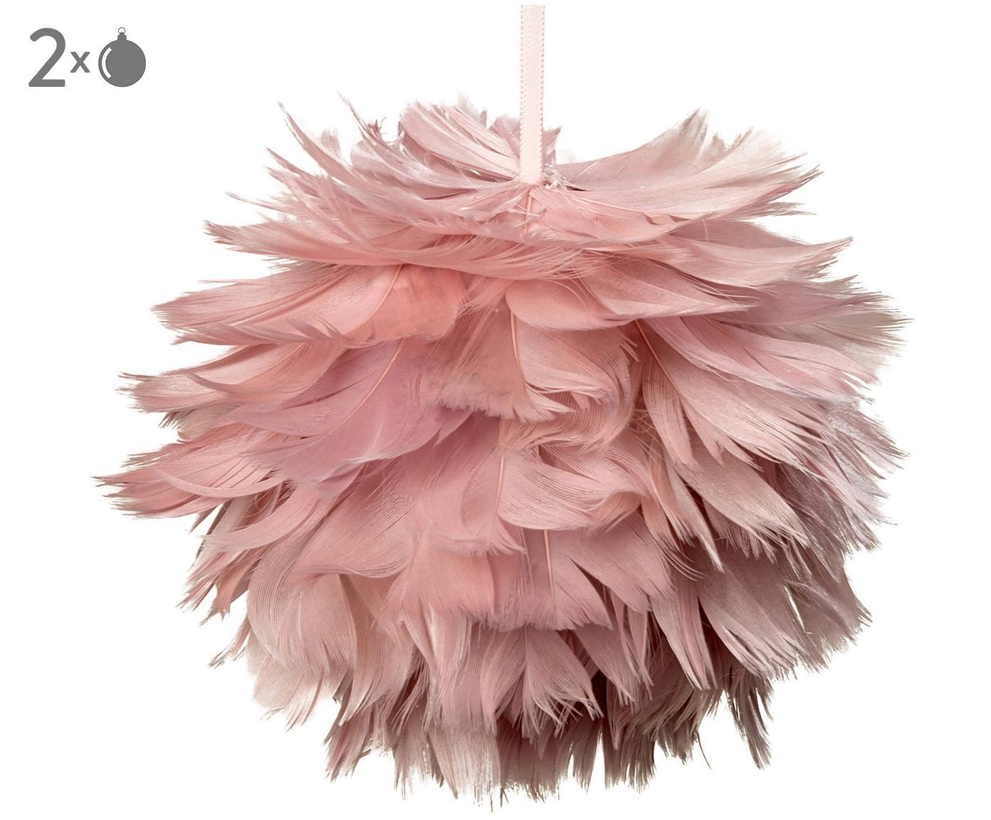 Decorazioni pendenti in piume Fay 2 pz, Cinturino: materiale sintetico, Rosa, Ø 11 cm
