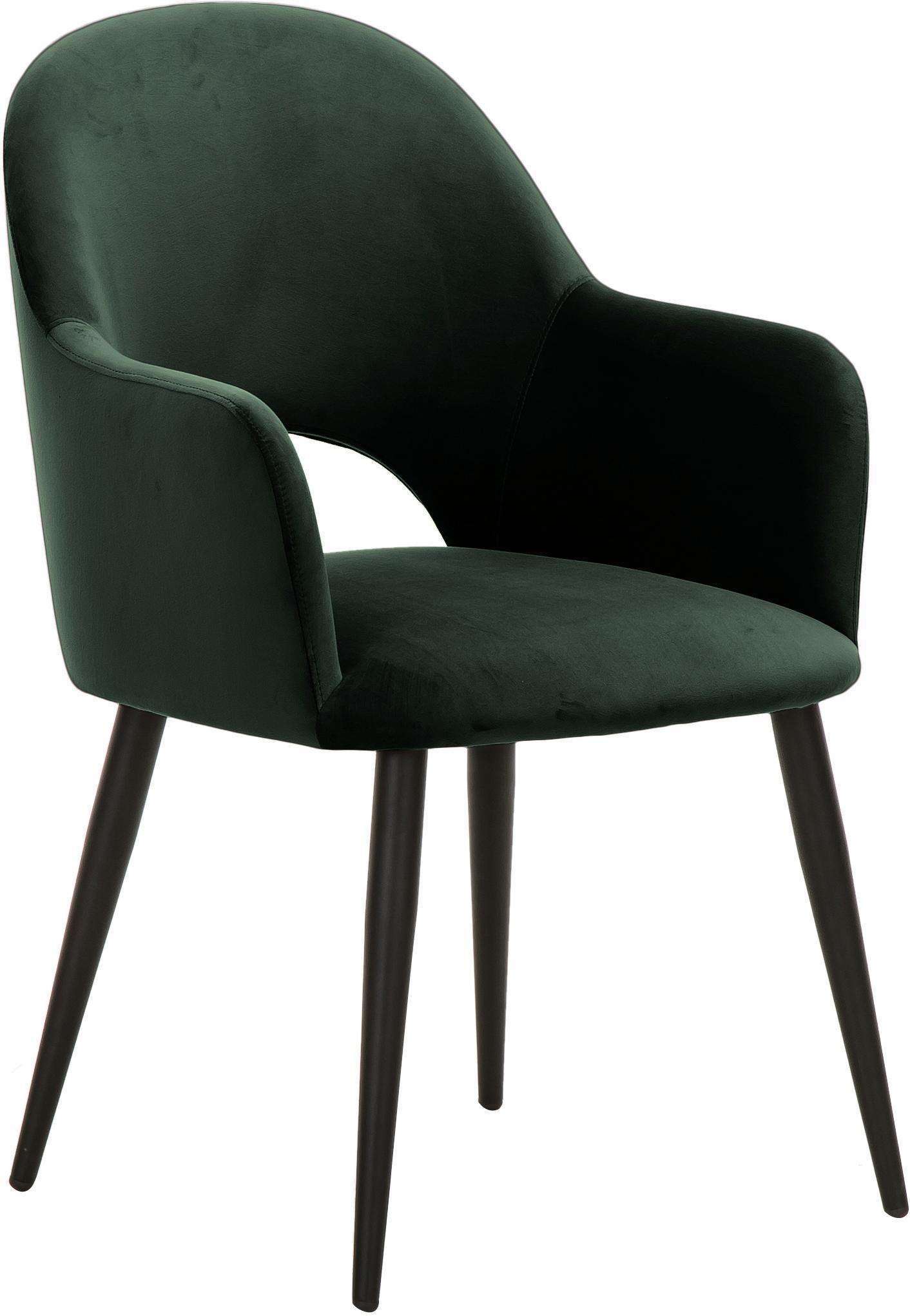 Krzesło z podłokietnikami z aksamitu Rachel, Tapicerka: aksamit (poliester) 5000, Nogi: metal malowany proszkowo, Aksamitny ciemny zielony, S 47 x G 64 cm