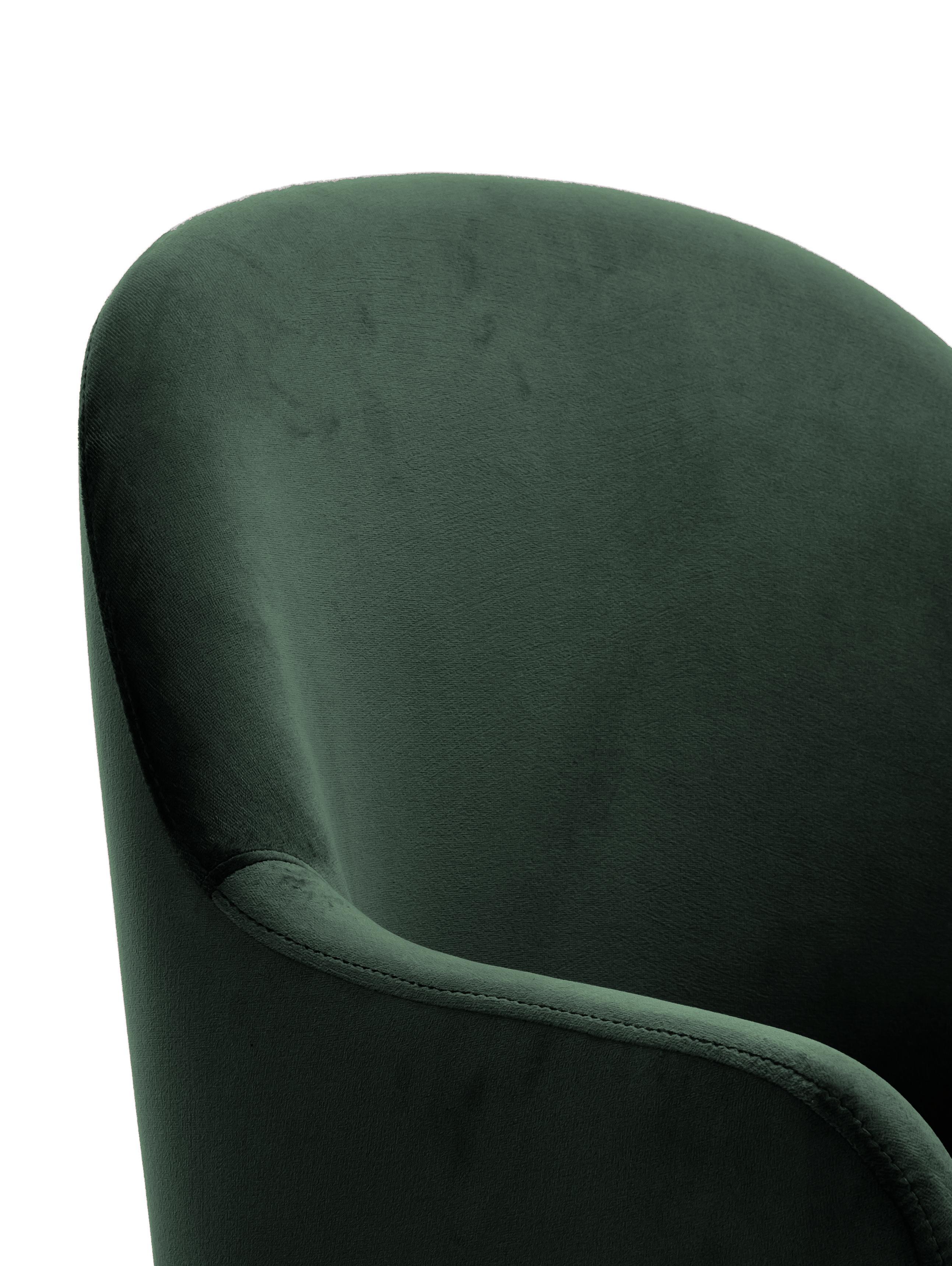 Samt-Armlehnstuhl Rachel, Bezug: Samt (Polyester) 50.000 S, Beine: Metall, pulverbeschichtet, Samt Dunkelgrün, B 47 x T 64 cm