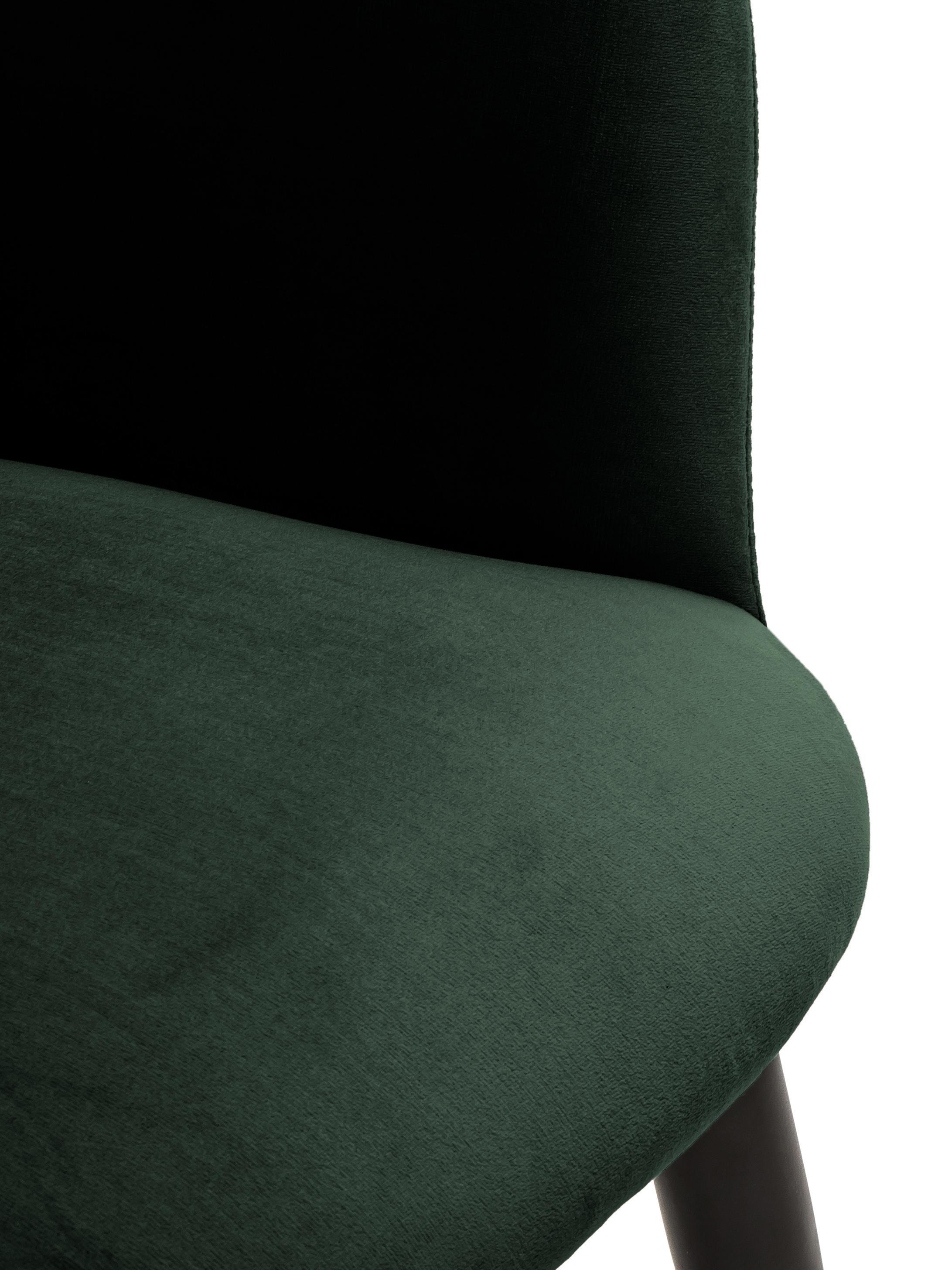 Sedia con braccioli in velluto Rachel, Rivestimento: velluto (poliestere) 50.0, Gambe: metallo verniciato a polv, Rivestimento: verde scuro Gambe: nero opaco, Larg. 47 x Prof. 64 cm
